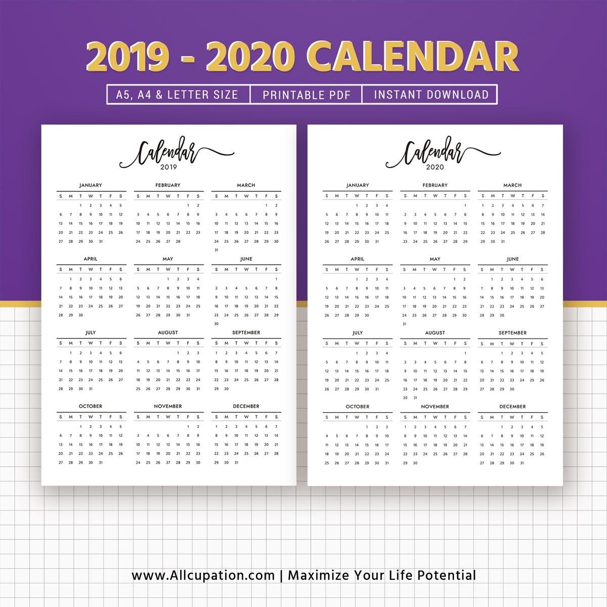 2019-2020 Calendar, Printable Calendar, Planner Design, Best Planner,  Planner Printable, Planner Inserts, Filofax A5, A4, Letter, Instant Download-Printable 2020 Blank Calendar On 8 X 11 Size
