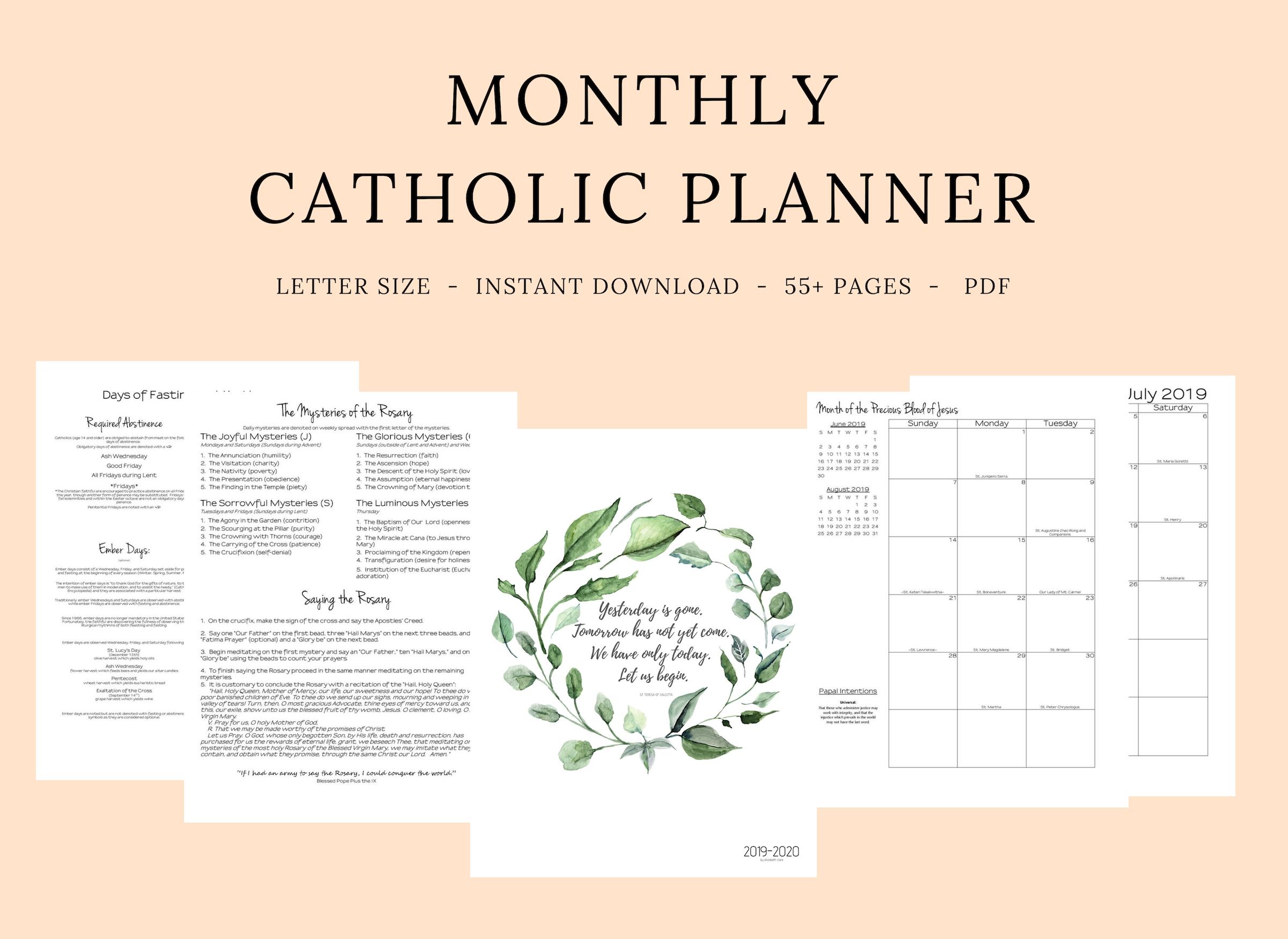 2019- 2020 Catholic Monthly Planner-2020 Catholic Monthly Calendar Printable