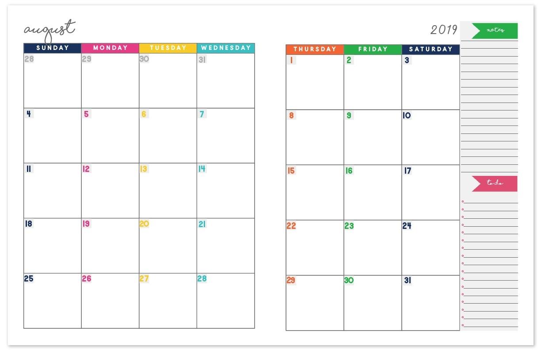2019-2020 Monthly Calendar Planner   Free Printable Calendar-Printable 2 Page Monthly Calendar 2020 Free