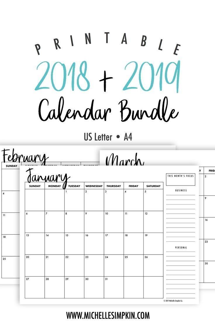 2019 & 2020 Printable Monthly Calendars Bundle • Landscape-Blank Calendar 2020 Printable Monthly Payday Bills And Due Date