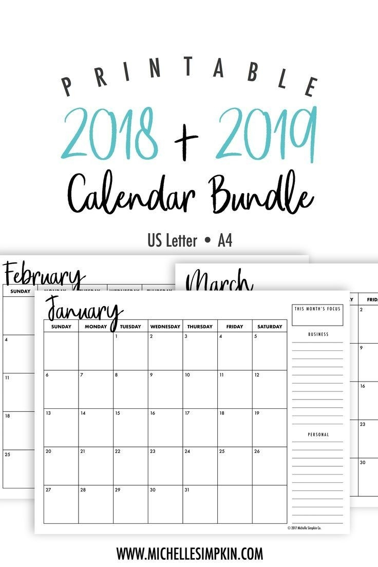 2019 & 2020 Printable Monthly Calendars Bundle • Landscape-Download Free Two Page Monthly Calendar 2020