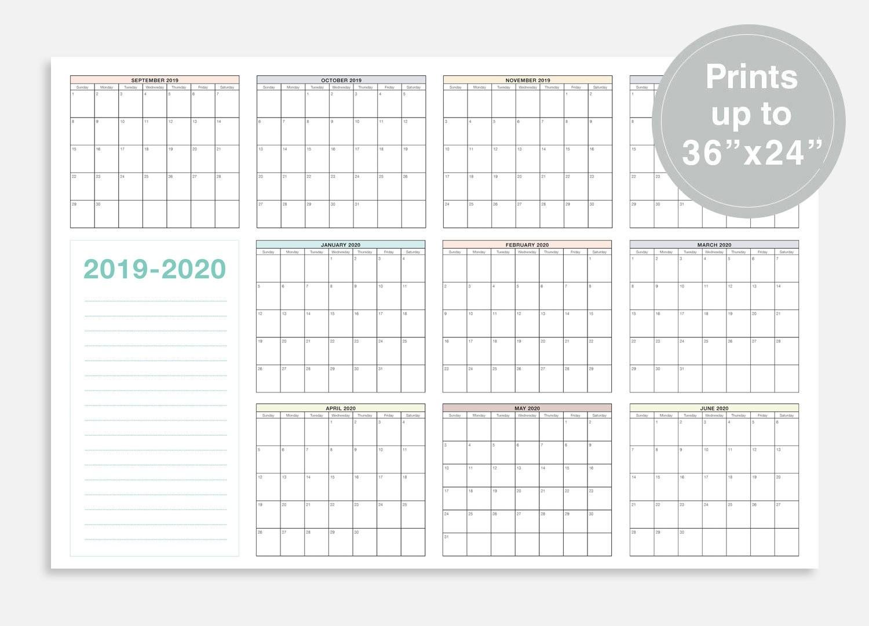 """2019-2020 School Calendar, September 2019 - June 2020 School Planner,  36X24"""" School Wall Calendar, At A Glance Calendar, School Planner-School Calendar Blank At A Glance"""