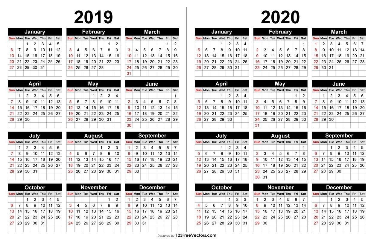 2019 And 2020 Calendar Printable | 2019 Calendar | 2019-Printable 2020 Blank Calendar On 8 X 11 Size