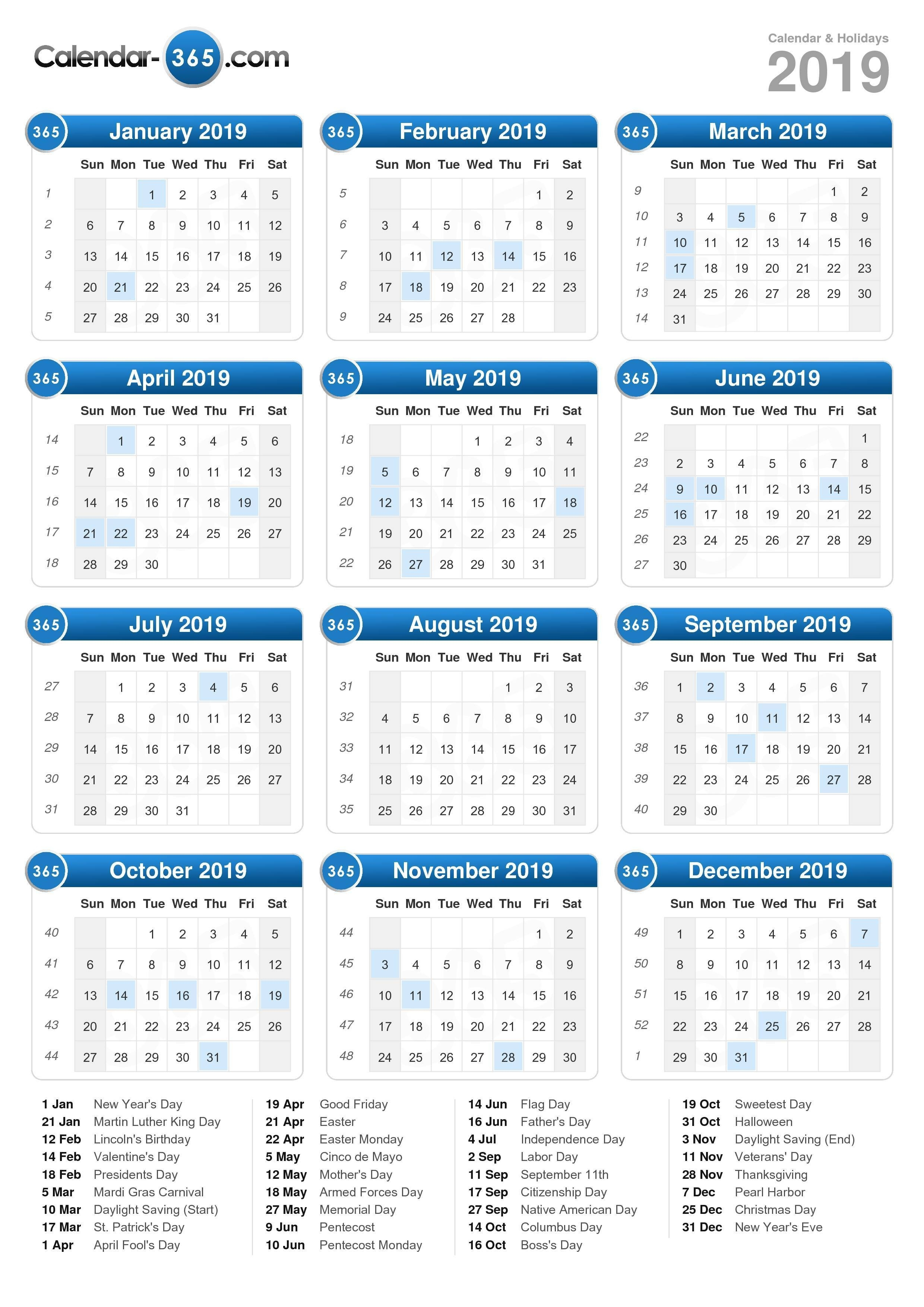 2019 Calendar-2022 Calendar Printable With Holidays Malaysia