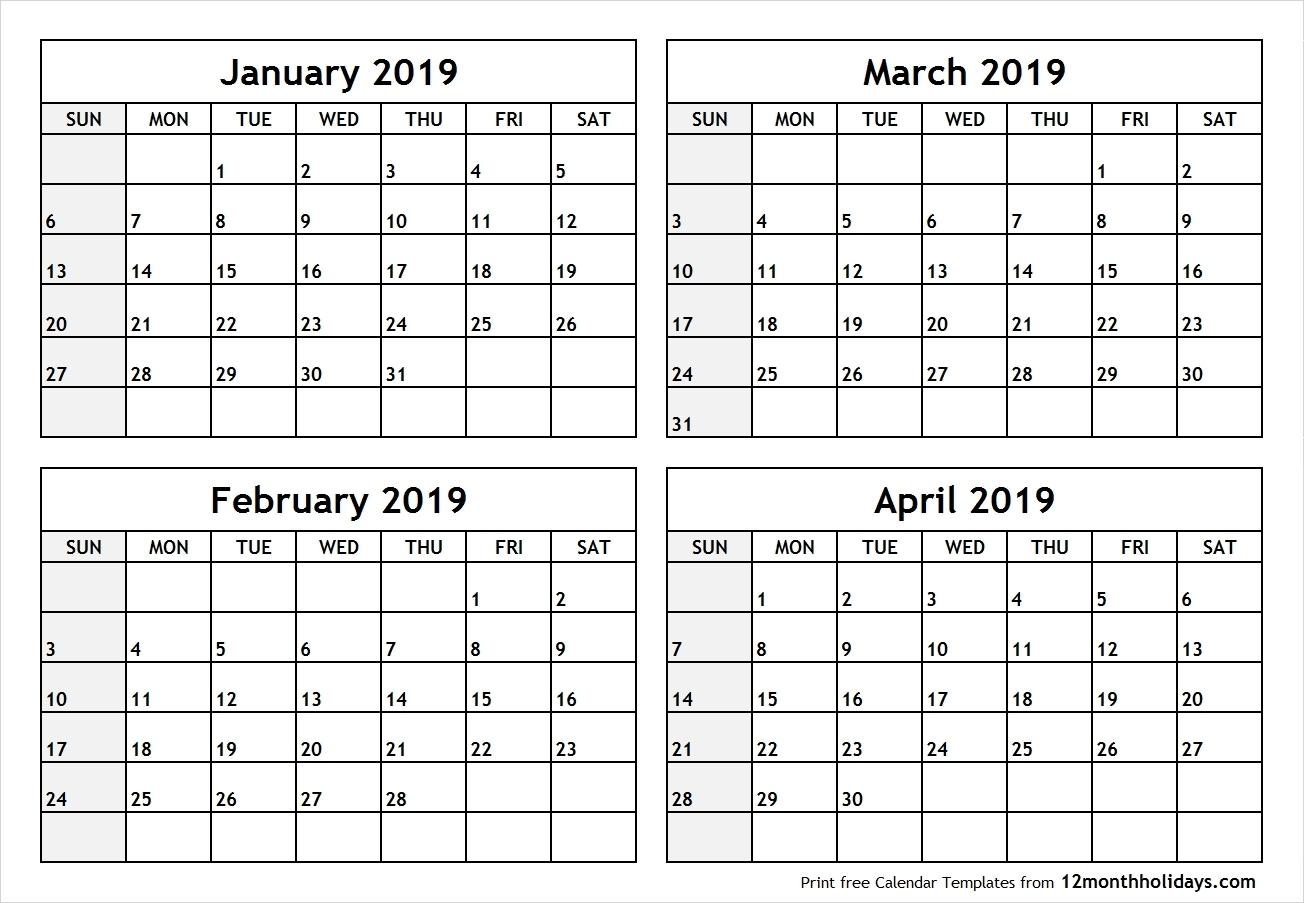 2019 Calendar 4 Months Per Page • Printable Blank Calendar-Calendar Template 4 Months Per Page