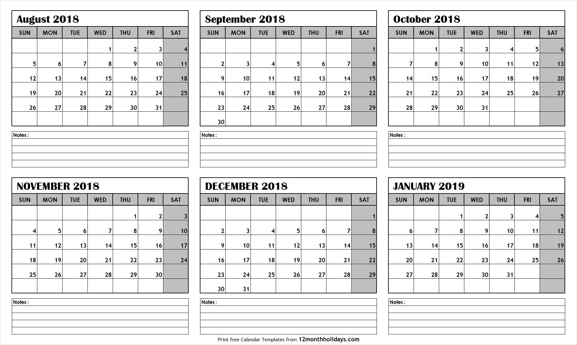 2019 Calendar 6 Month • Printable Blank Calendar Template-Calendar Blanks 6 Months