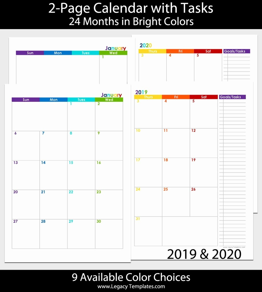 2019 Calendar 8.5X11 Printable 2019 2020 24 Months 2 Page-2 Page Monthly Calendar Printable 2020