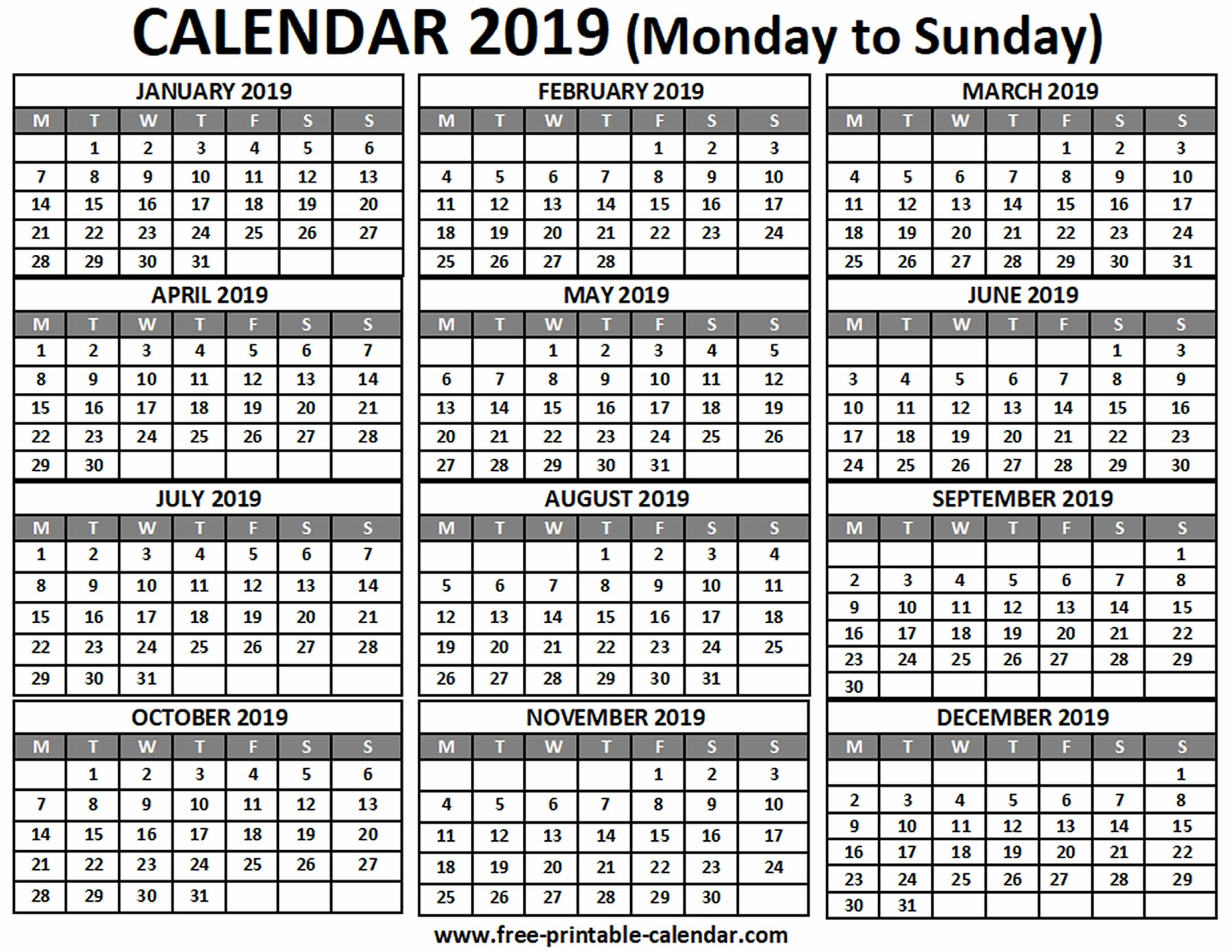 2019 Calendar - Free-Printable-Calendar-A4 Monthly Calendar Template Print Over 2 Pages Monday Start Free