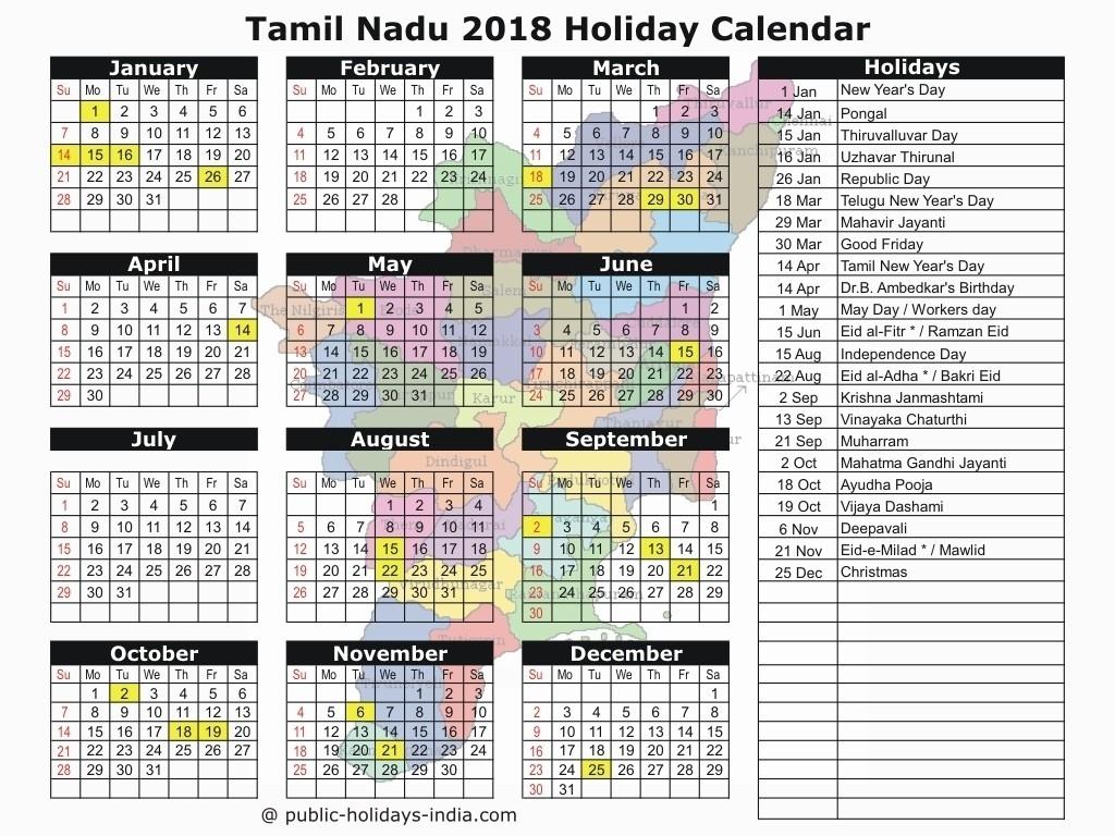 2019 Calendar Holidays Tamilnadu • Printable Blank Calendar-Tamilnadu Holidays By Month
