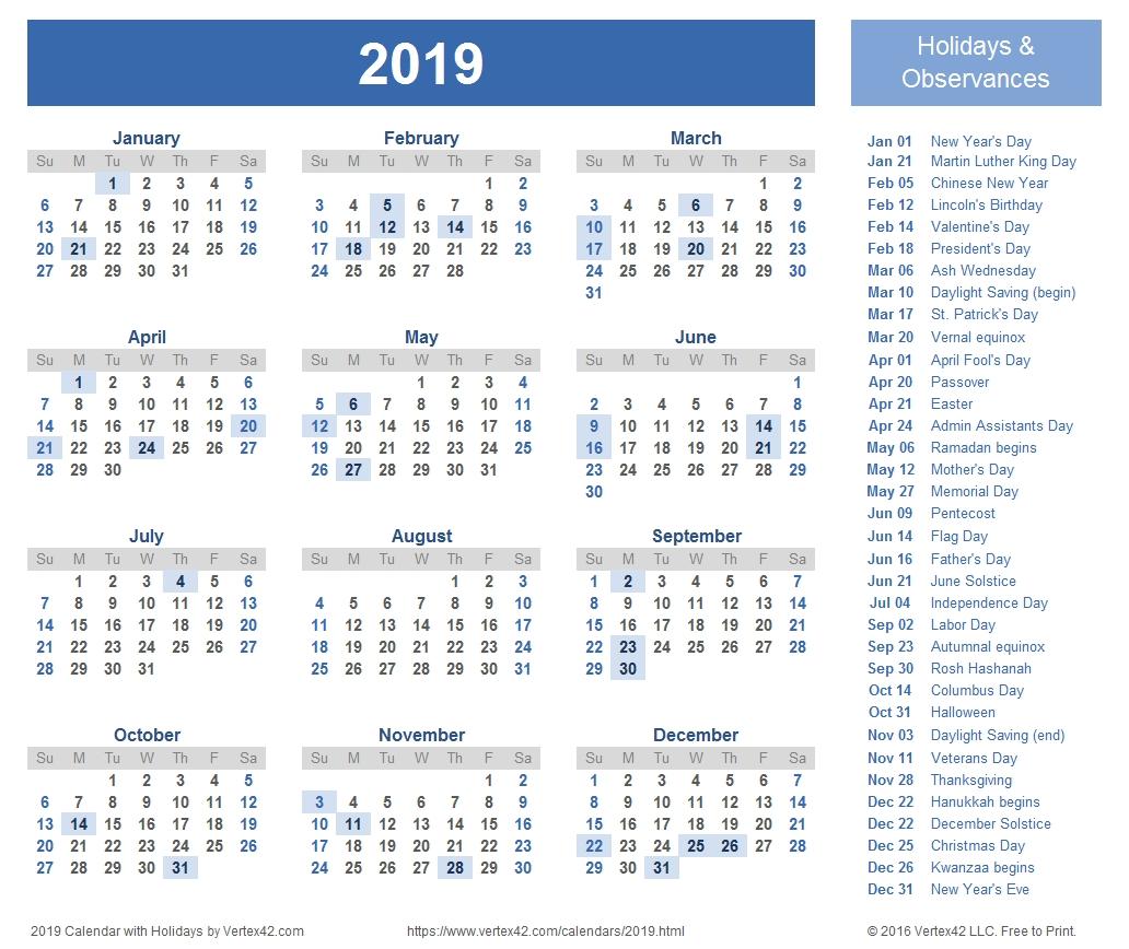 2019 Calendar Templates And Images-Calendar Templates By Vertex42.com