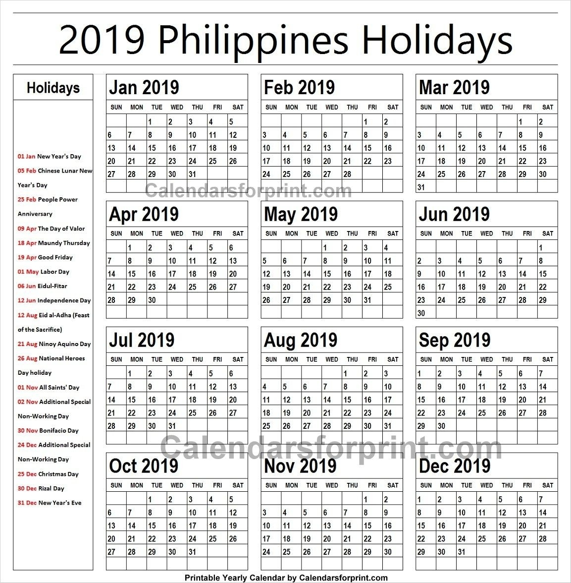 2019 Calendar With Holidays Philippines Printable | Holidays-Holidays In Philippines Printable