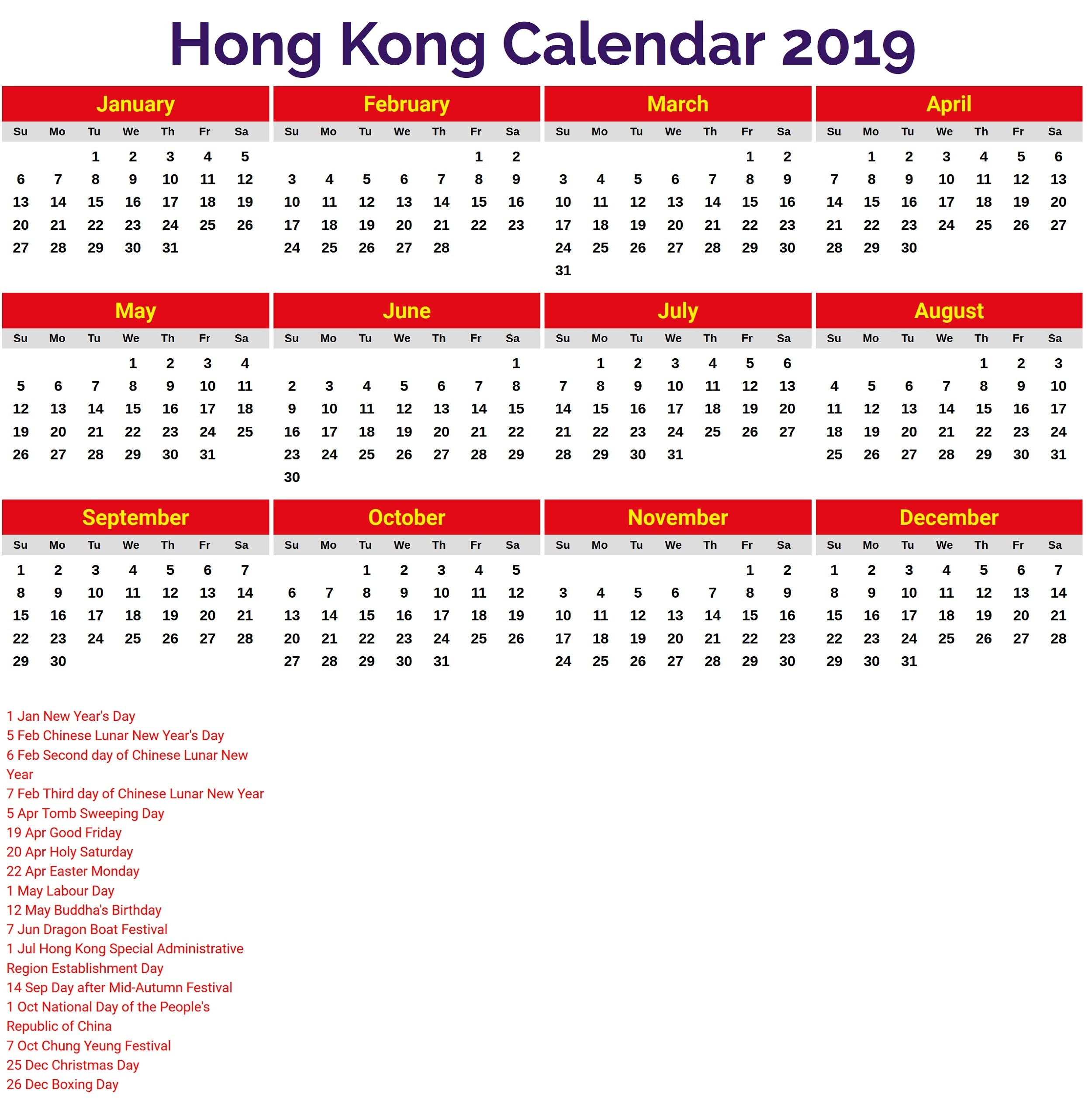 2019 Calendar With Holidays Printable | Calendar Shelter-January 2020 Calendar Hong Kong