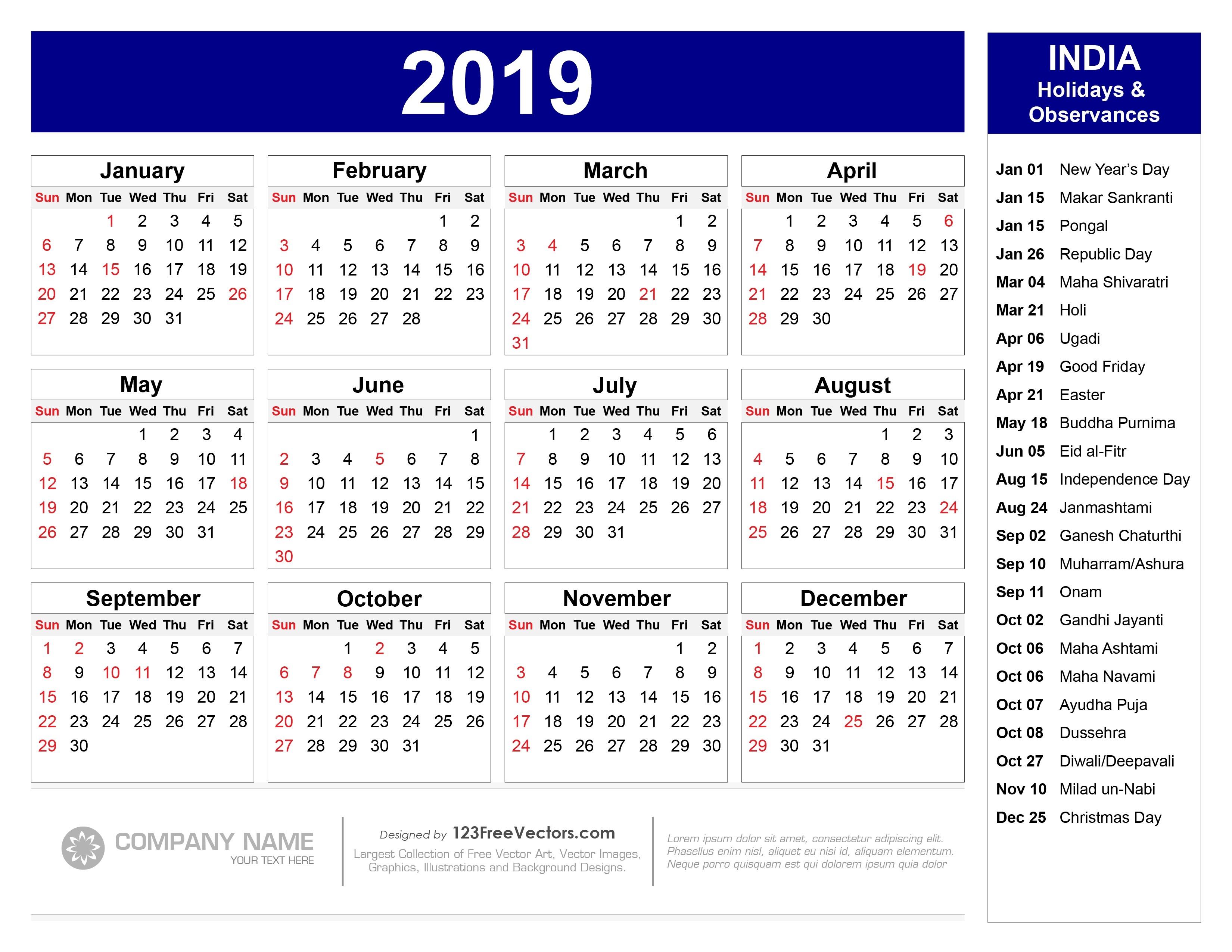 2019 Calendar With Indian Holidays Pdf-Printable 2020 Holidays India
