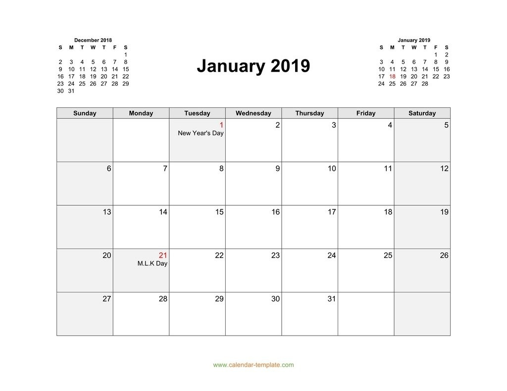 2019 Calendar With Previous And Next Month (Top)-Monthly Calandar Template Start From Sunday