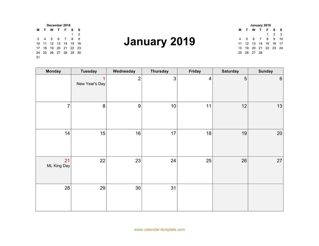 2019 Calendar With Previous And Next Month (Top)-Printable Monthly Calendar Starting On Monday