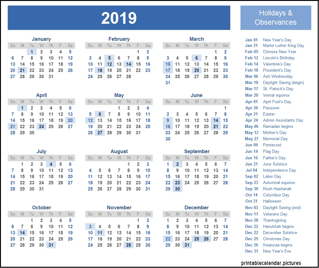 2019 Calendar With School Holidays   2019 Calendar Holidays-2020 Calendar With Holidays Inc Jewish