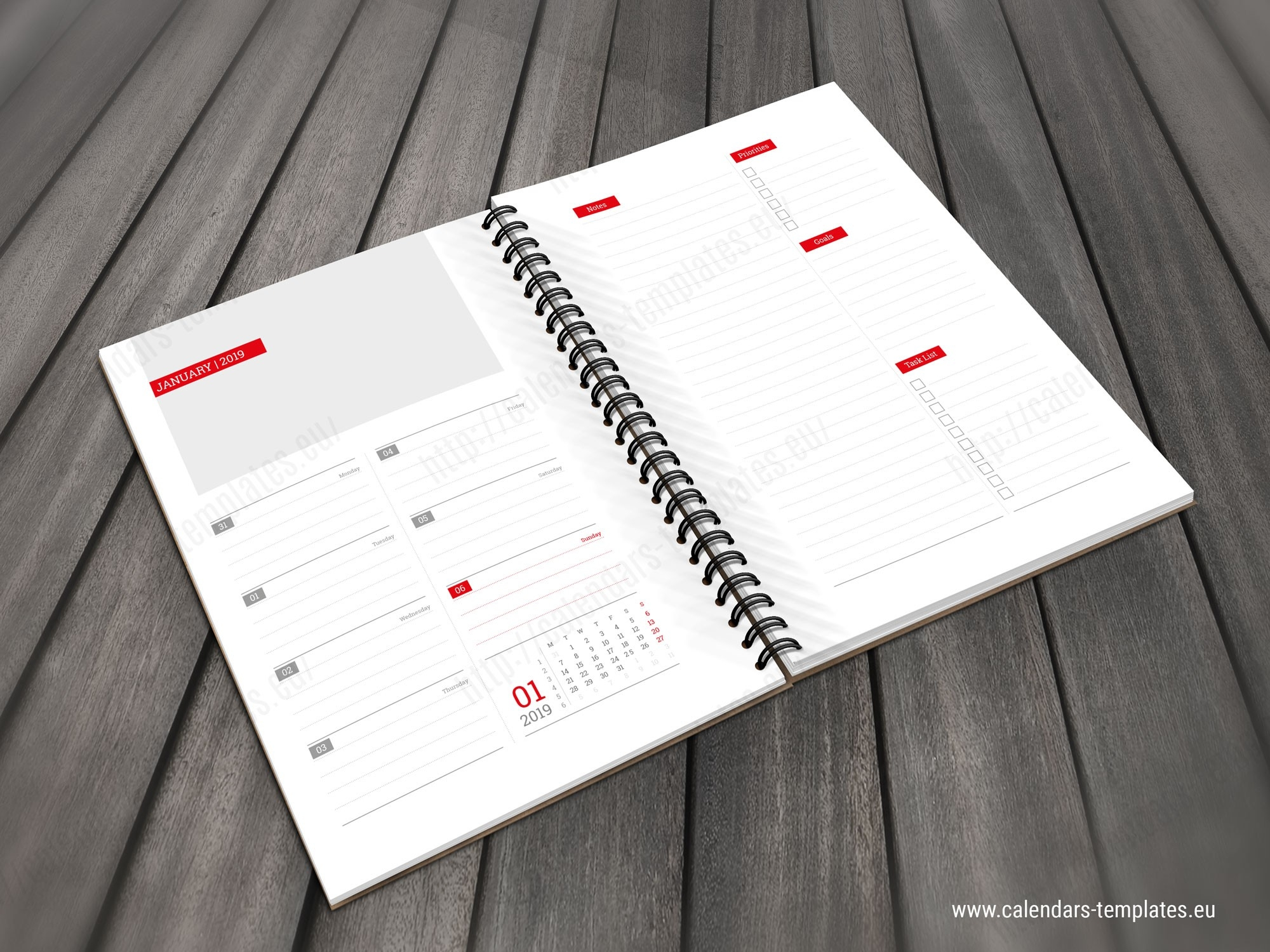 2019 Daily Planner Notebook Pd-W4 | Template-Planner Templates For Indesign