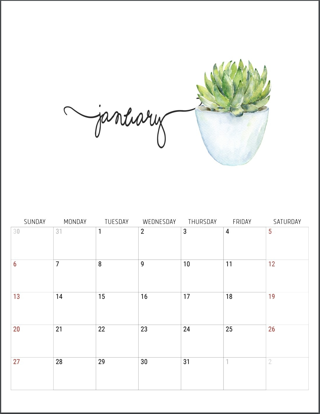 2019 Free Printable Calendars - Lolly Jane-Beach Calendar With Blanks