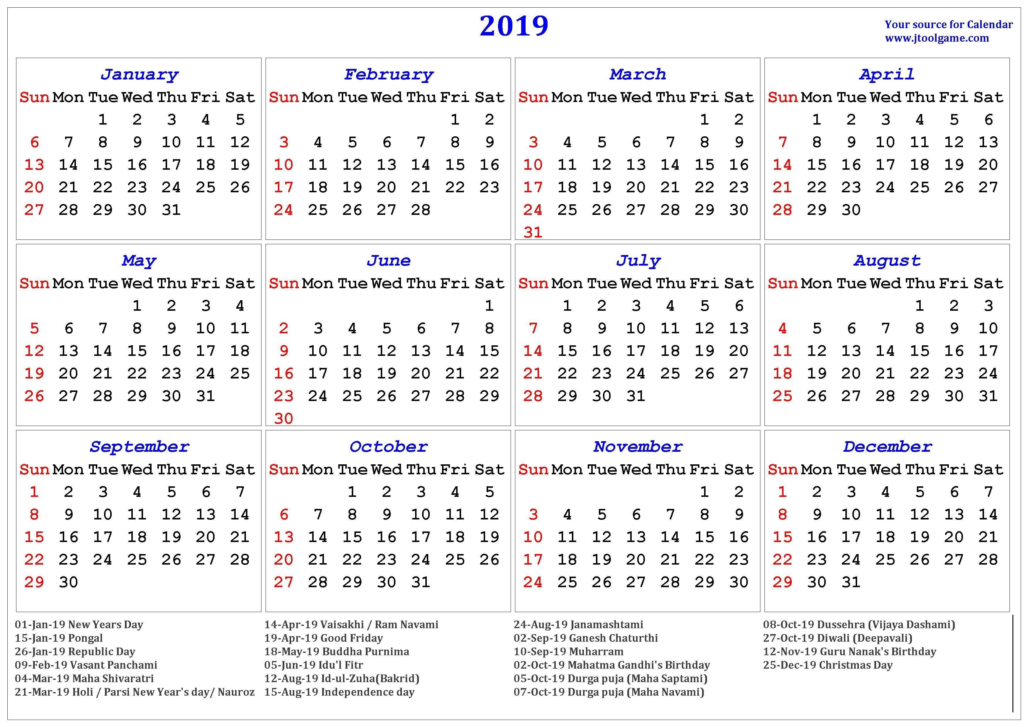 2019 Hindu Calendar With Tithi | Tyohar, Holidays, Festivals-2020 Calendar Template With Catholic Holidays