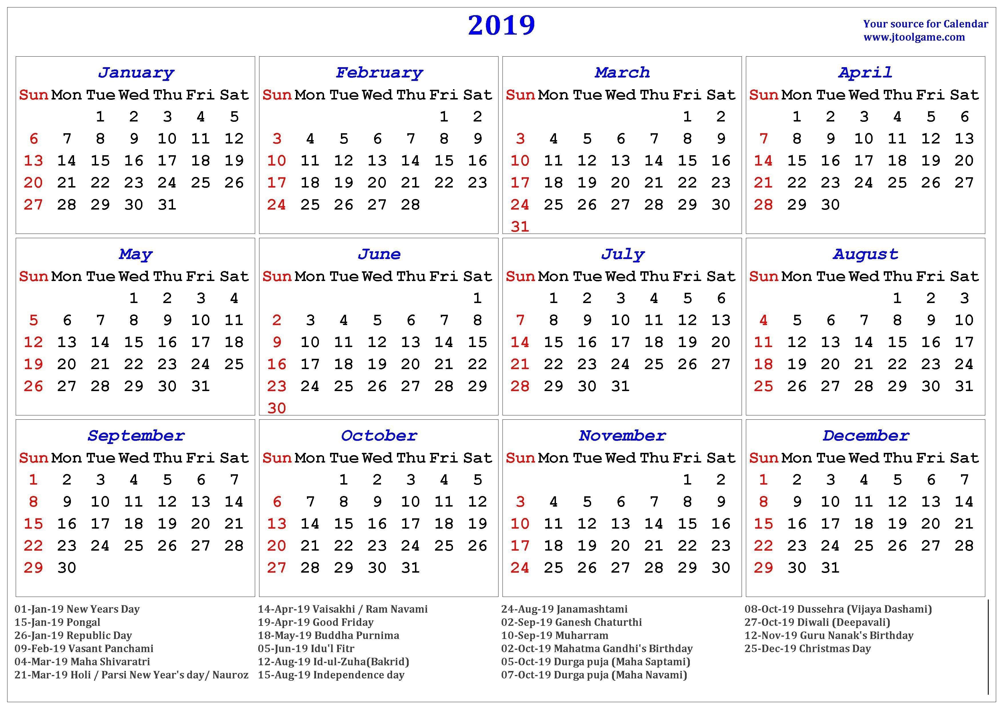 2019 Hindu Calendar With Tithi   Tyohar, Holidays, Festivals-Calendar 2020 With Hindi And Holidays Download