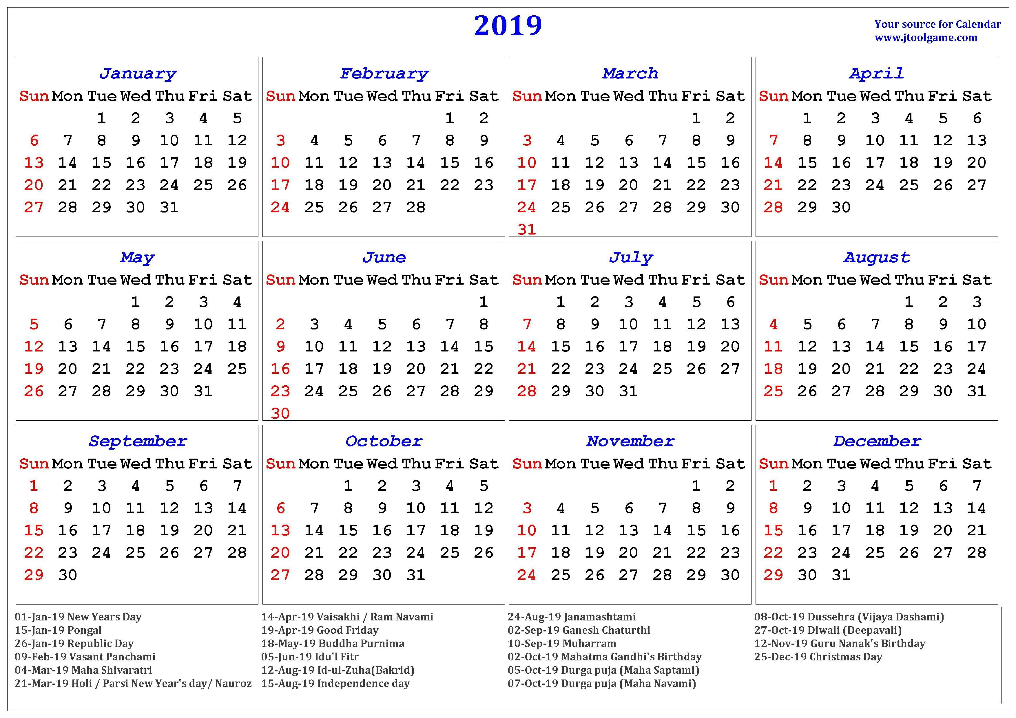 2019 Hindu Calendar With Tithi | Tyohar, Holidays, Festivals-Gujarati Calendar 2020 January