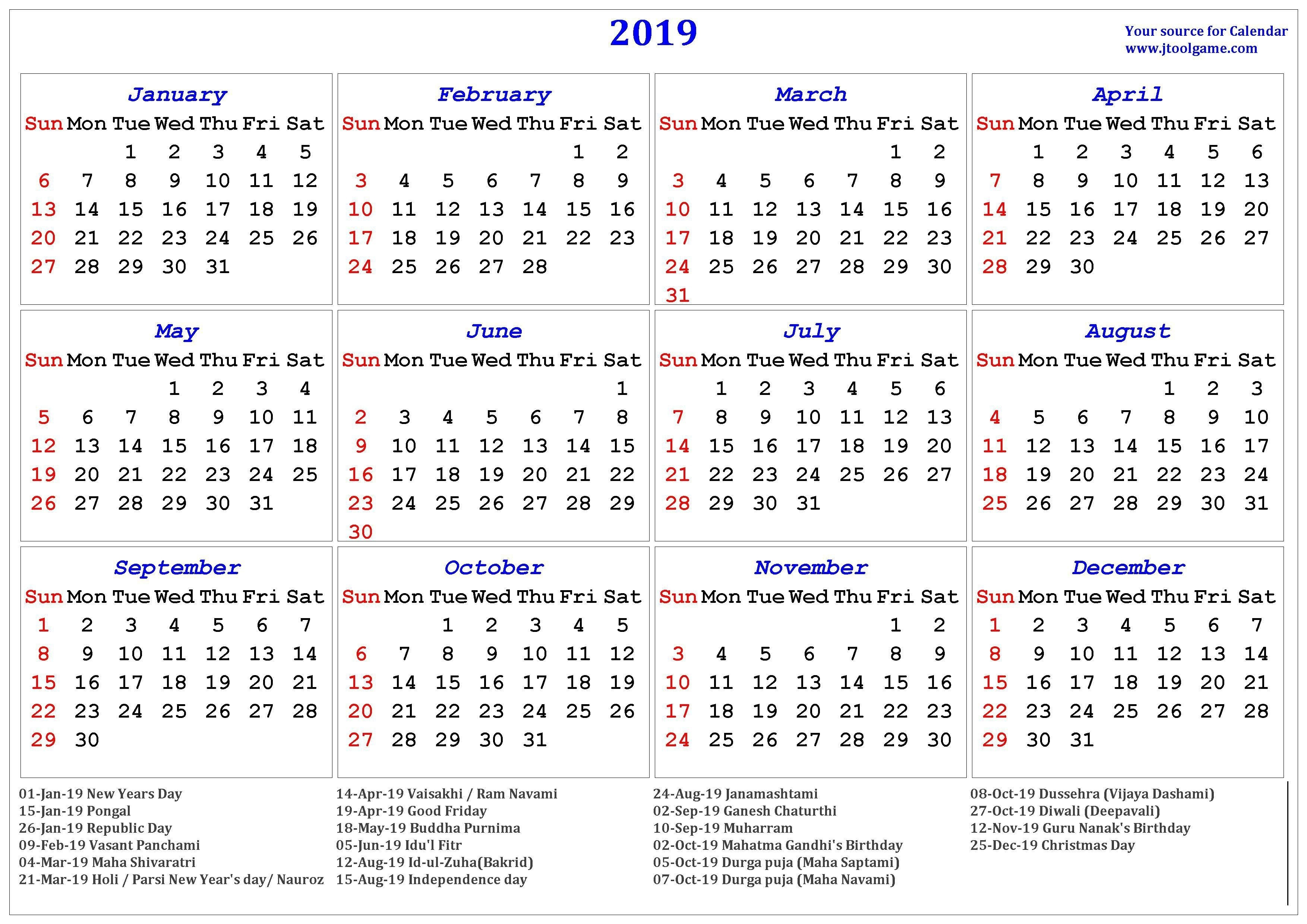2019 Hindu Calendar With Tithi | Tyohar, Holidays, Festivals-January 2020 Calendar Tithi