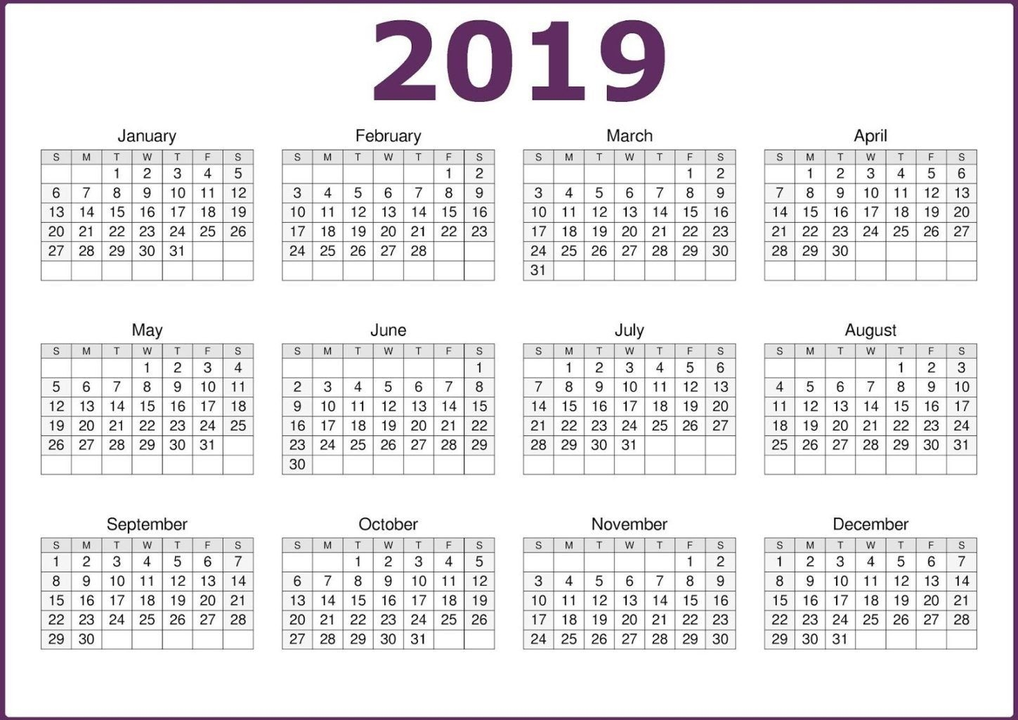 2019 One Page Calendar Printable | 2019 Calendars | 12 Month-Blank Calendar 4 Months One Page