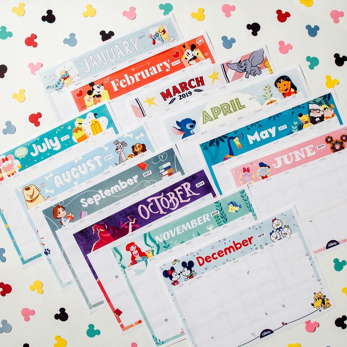 2019 Printable Calendar Featuring Disney Art   Disney Family-Free Mickey Mouse Printable Monthly Calendar 2020