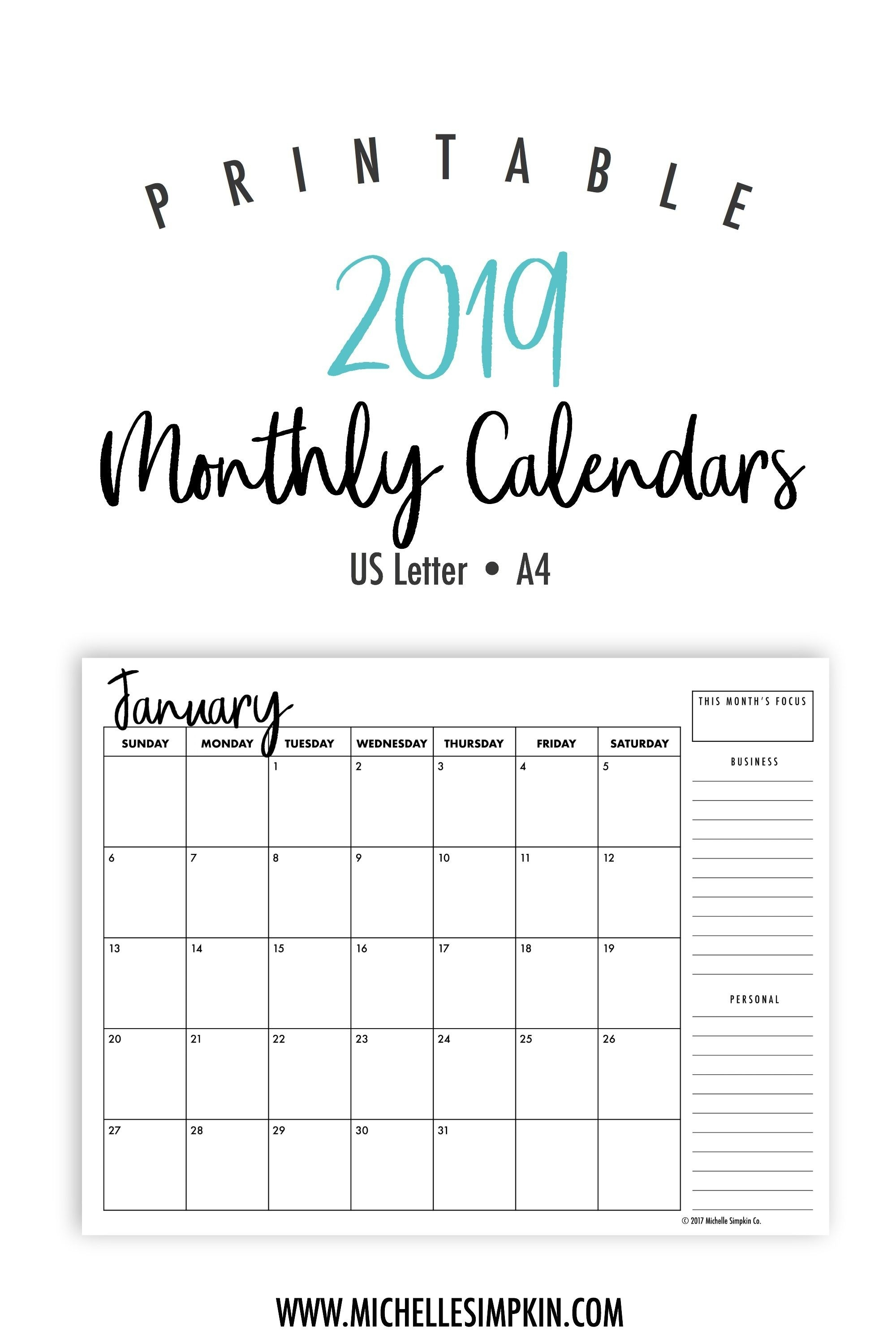 2019 Printable Monthly Calendars • Landscape • Us Letter-A4 Monthly Calendar Template Print Over 2 Pages Monday Start Free