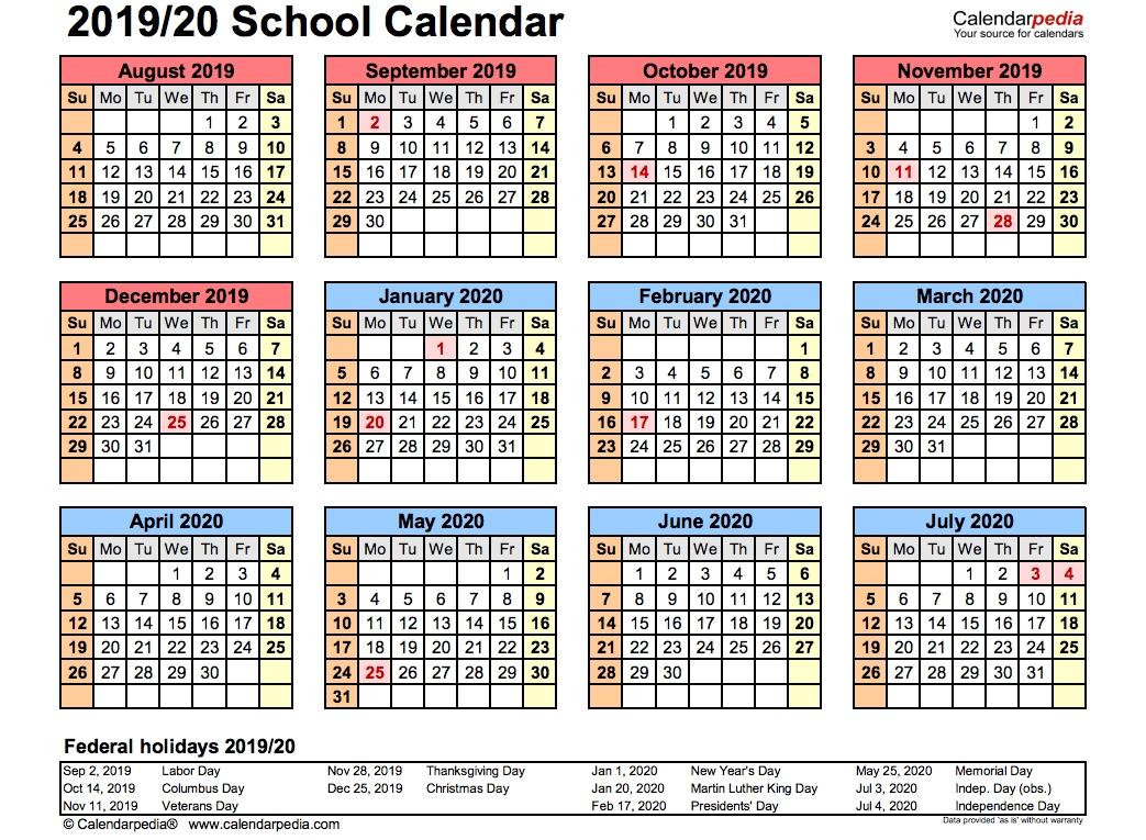 2019 School Calendar Printable | Academic 2019/2020-Free Printable Attendance Calendars 2020 Templates