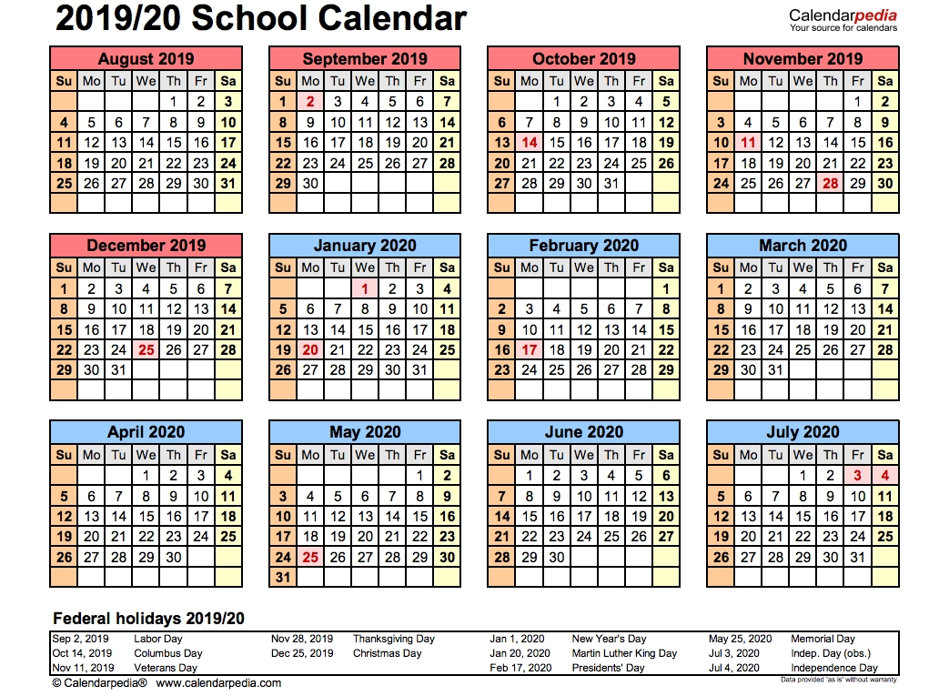 2019 School Calendar Printable | Academic 2019/2020-January 2020 School Calendar