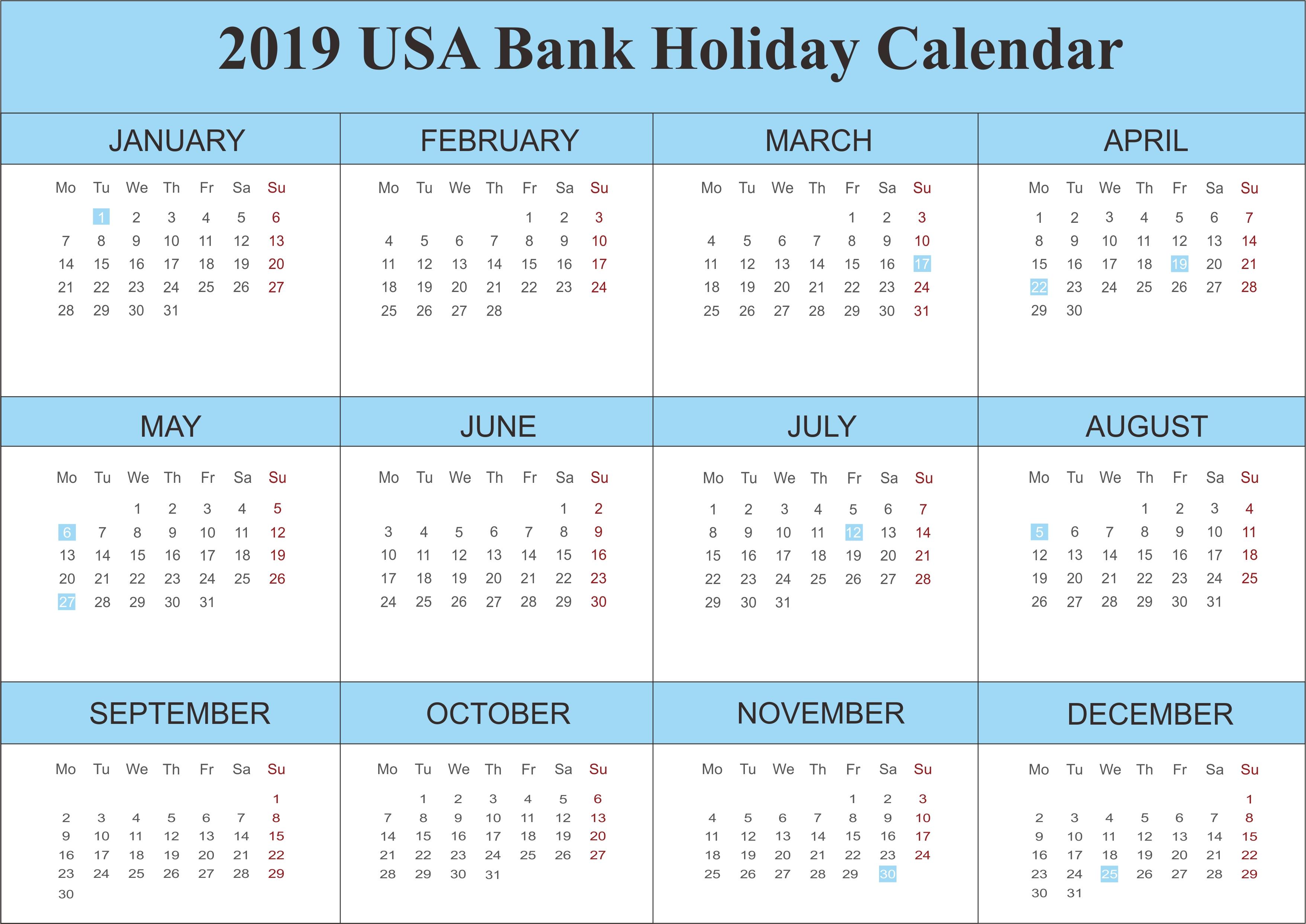 2019 Usa Bank Holidays Calendar | 250+ Free Monthly Calendar-Six Monthly New Zealand Calendars