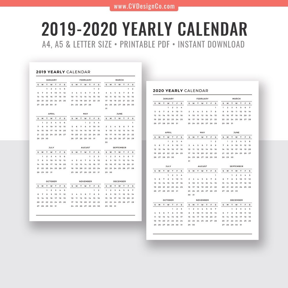 2019 Yearly Calendar And 2020 Yearly Calendar, 2019 - 2020 Yearly Calendar,  Digital Printable Planner Inserts. Filofax A5, A4, Letter Size-Printable 2020 Blank Calendar On 8 X 11 Size