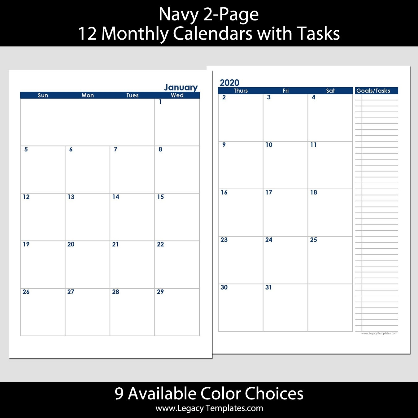 2020 12-Months 2-Page Calendar – A5 | Legacy Templates-2020 Monthly 2 Page Calendar