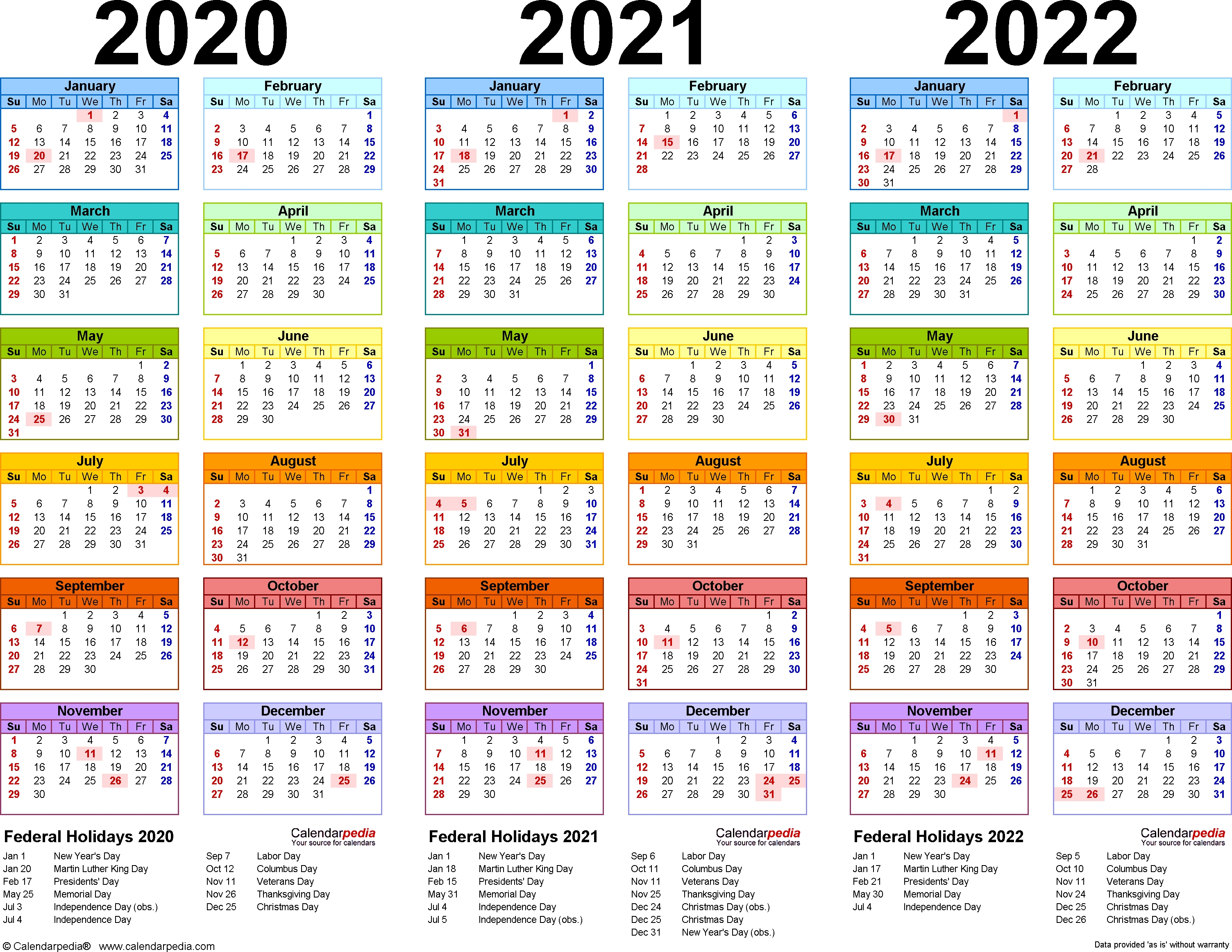 2020/2021/2022 Calendar - 4 Three-Year Printable Pdf Calendars-January 2020 Style 3 Calendar