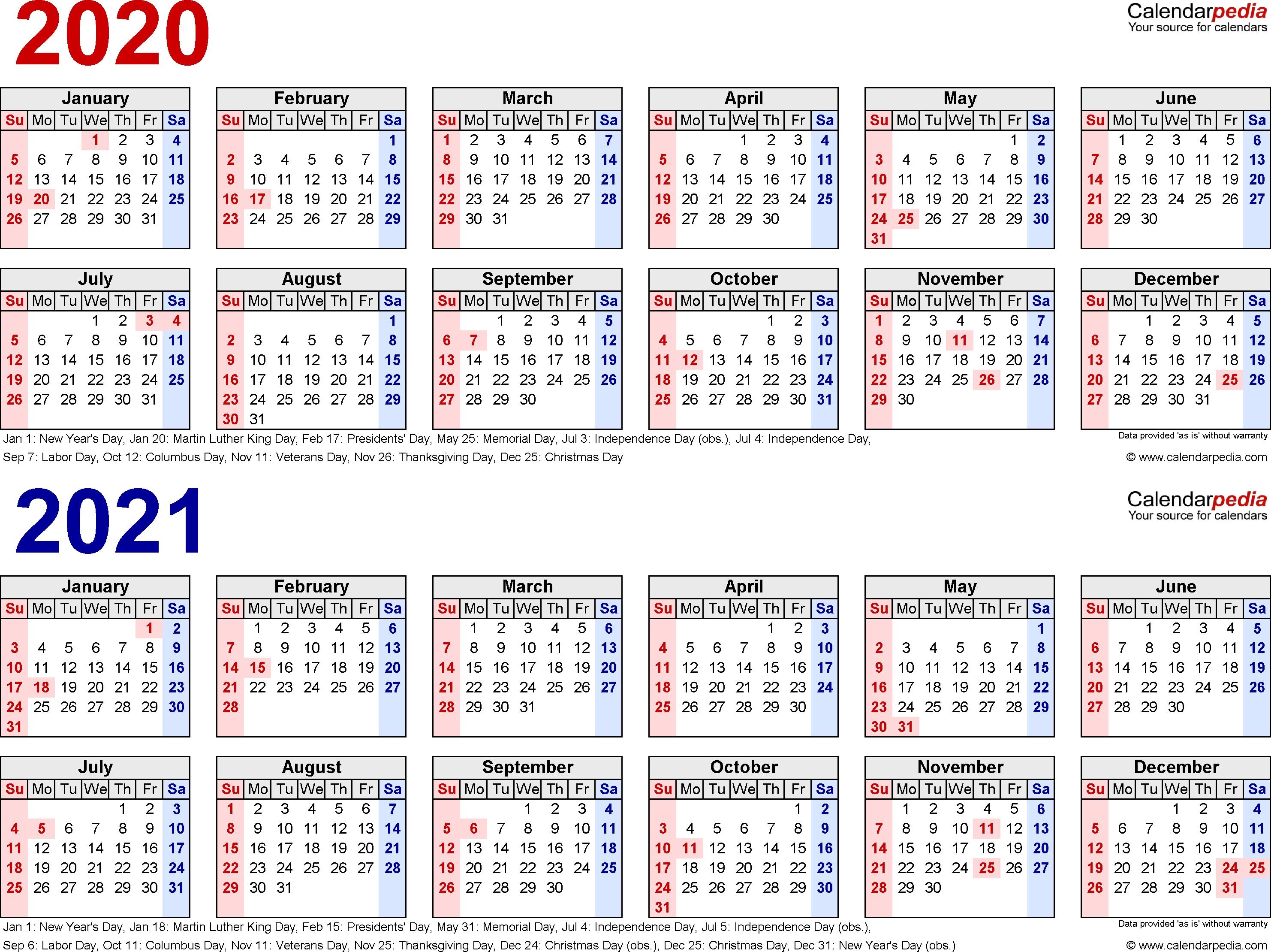 2020-2021 Calendar - Free Printable Two-Year Word Calendars-Calendar Labs 2020 Templates