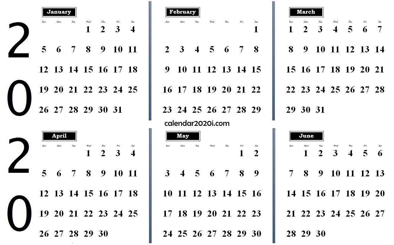 2020 6 Months Calendar From January To June | 2020 Calendars-January - June 2020 Calendar