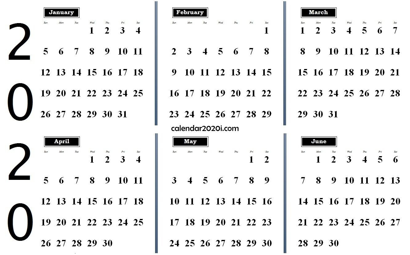 2020 6 Months Calendar From January To June | 2020 Calendars-January To June 2020 Calendar