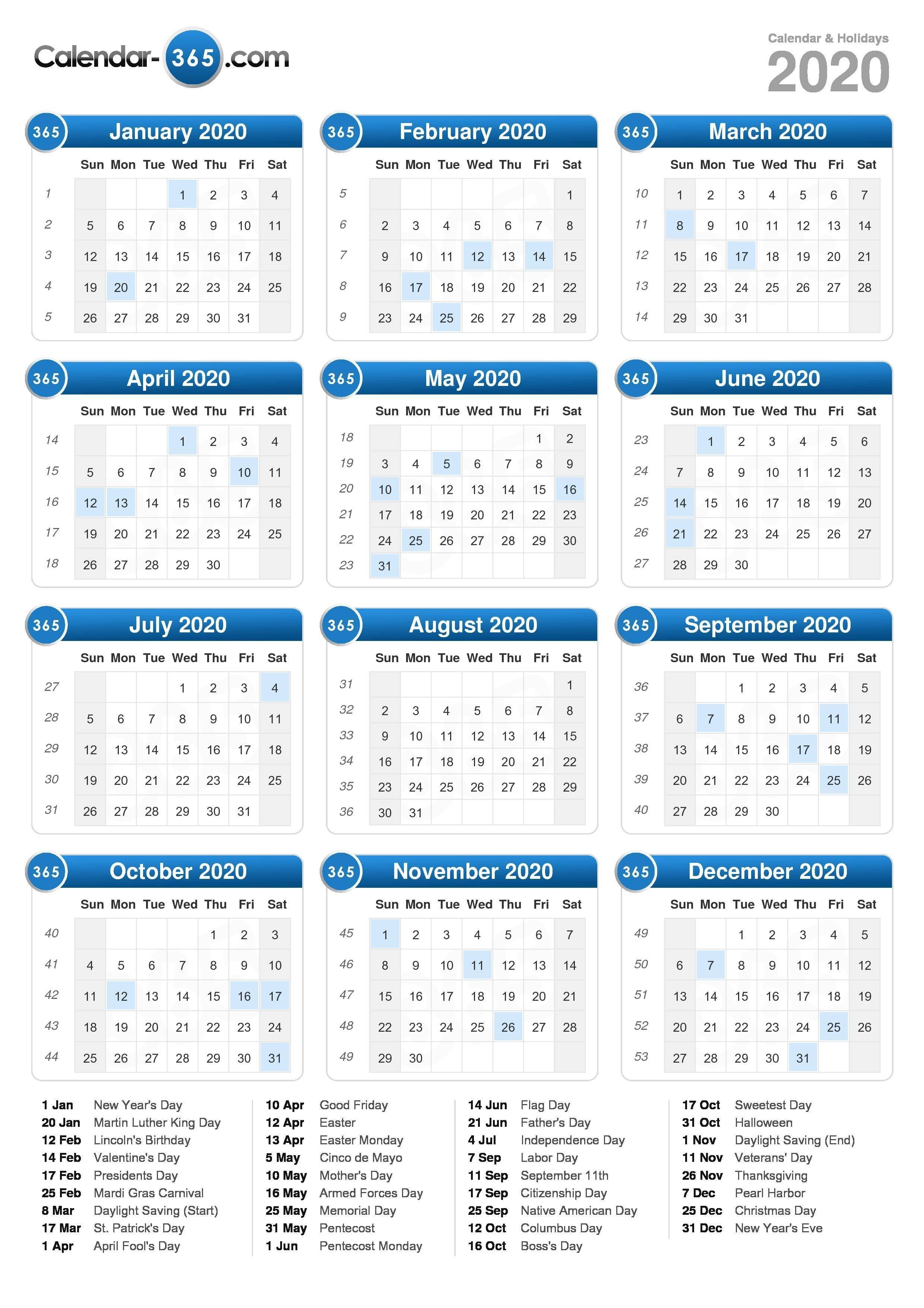 2020 Calendar-2020 Calendar With Holidays