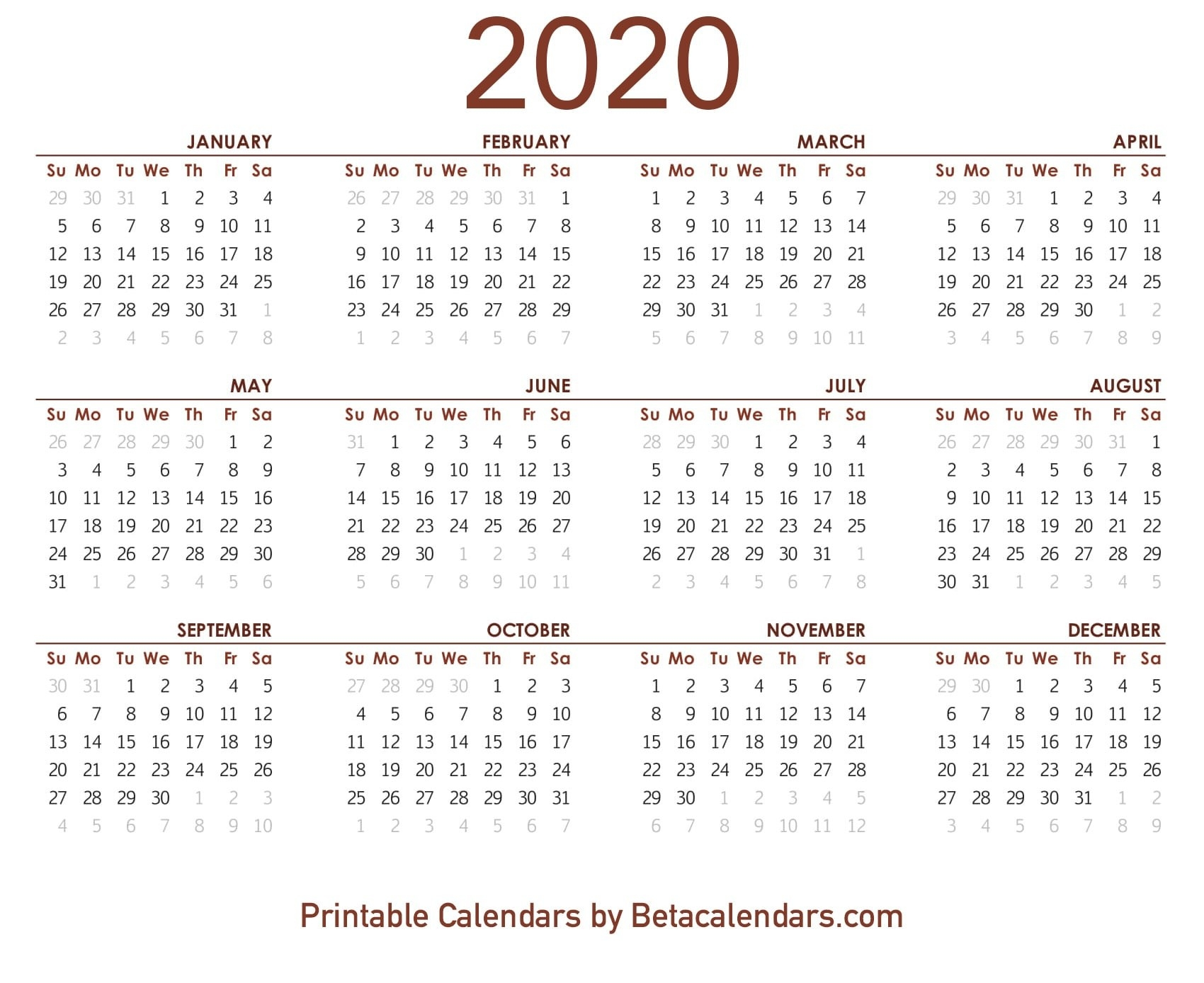 2020 Calendar - Beta Calendars-January 2020 Style 3 Calendar