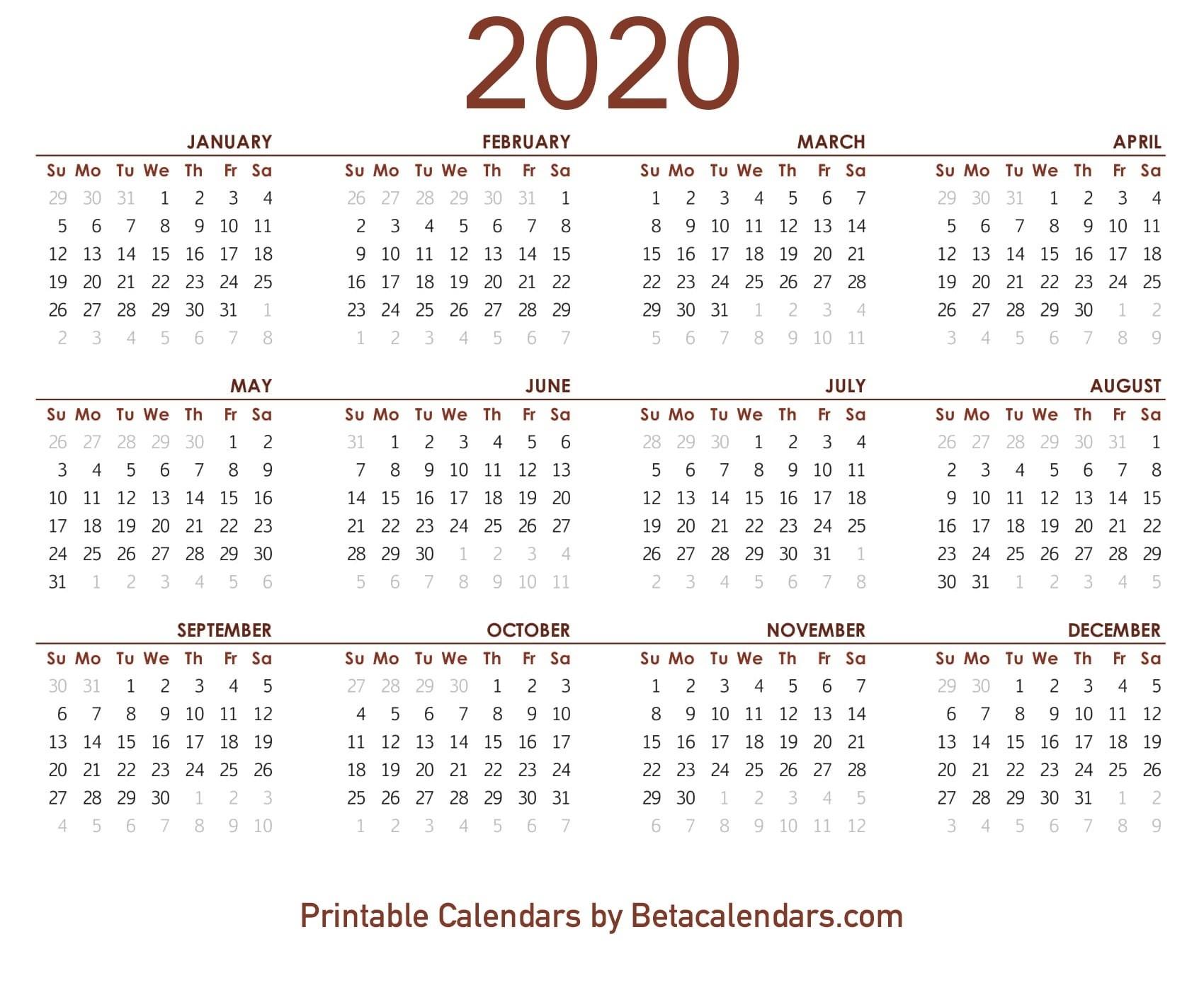 2020 Calendar - Beta Calendars-January - June 2020 Calendar