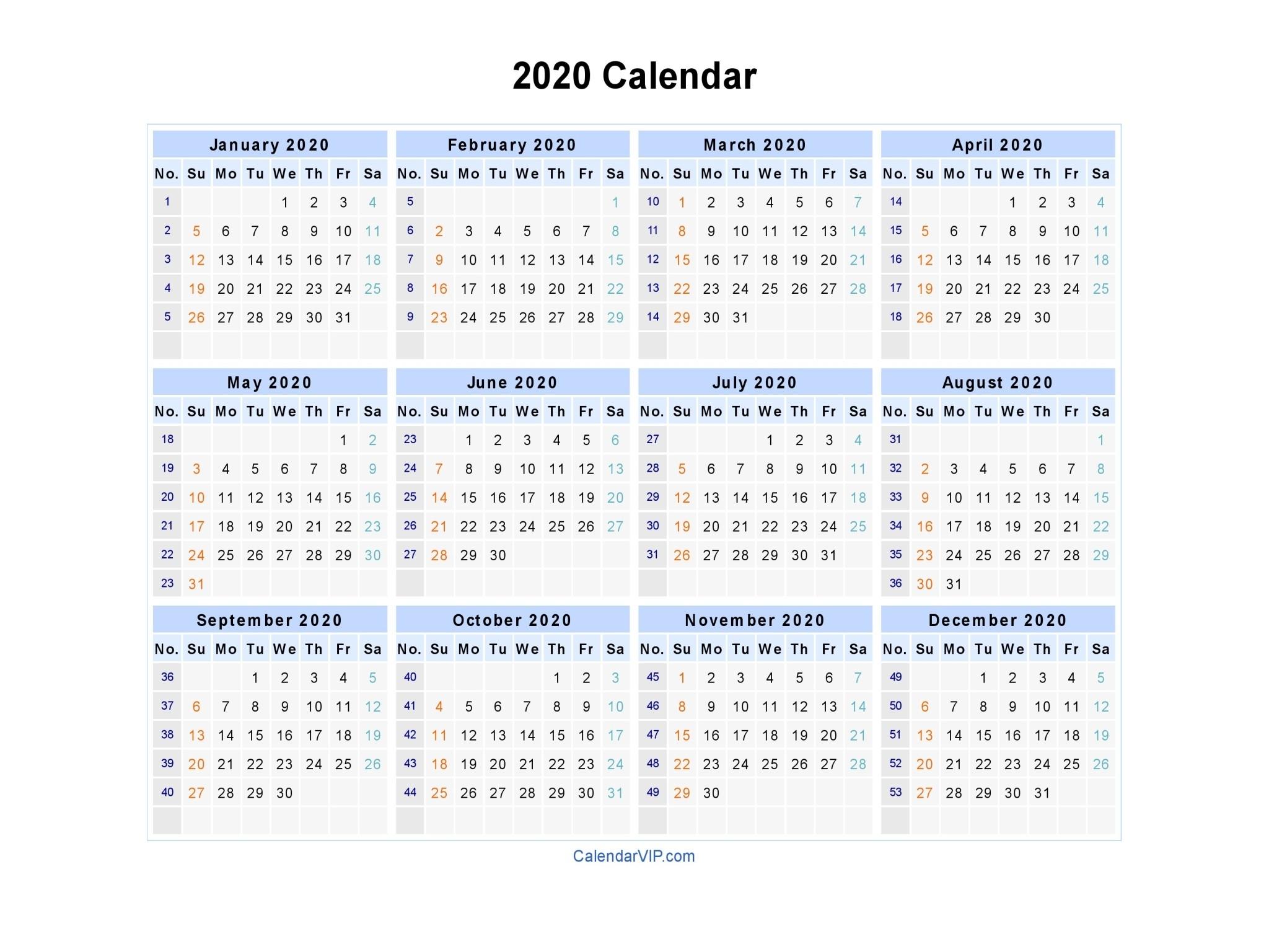 2020 Calendar - Blank Printable Calendar Template In Pdf-Calendar Templates 2020 Week Numbers