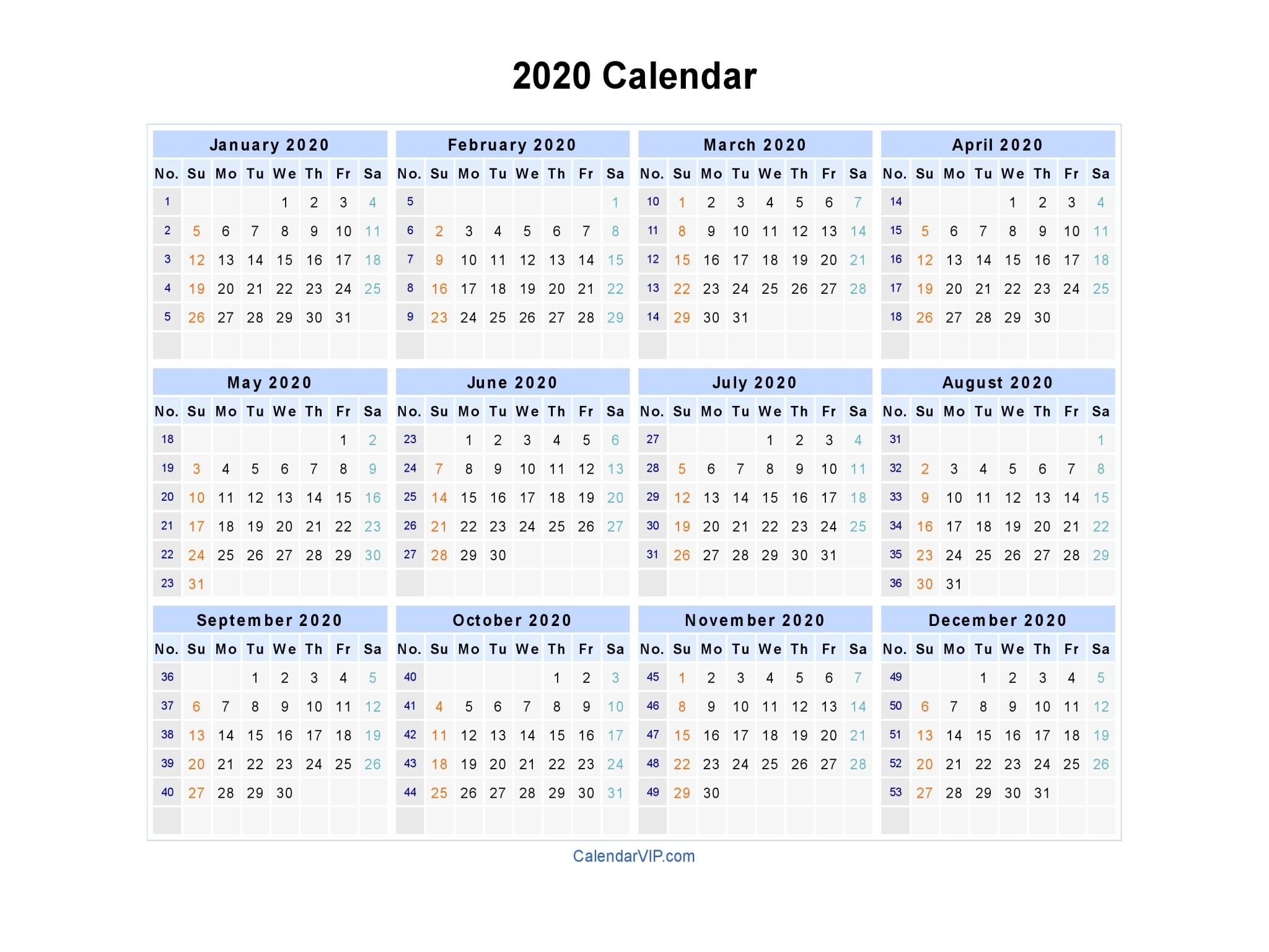 2020 Calendar - Blank Printable Calendar Template In Pdf-Monthly Photo 2020 Calendar Template Printable Psd