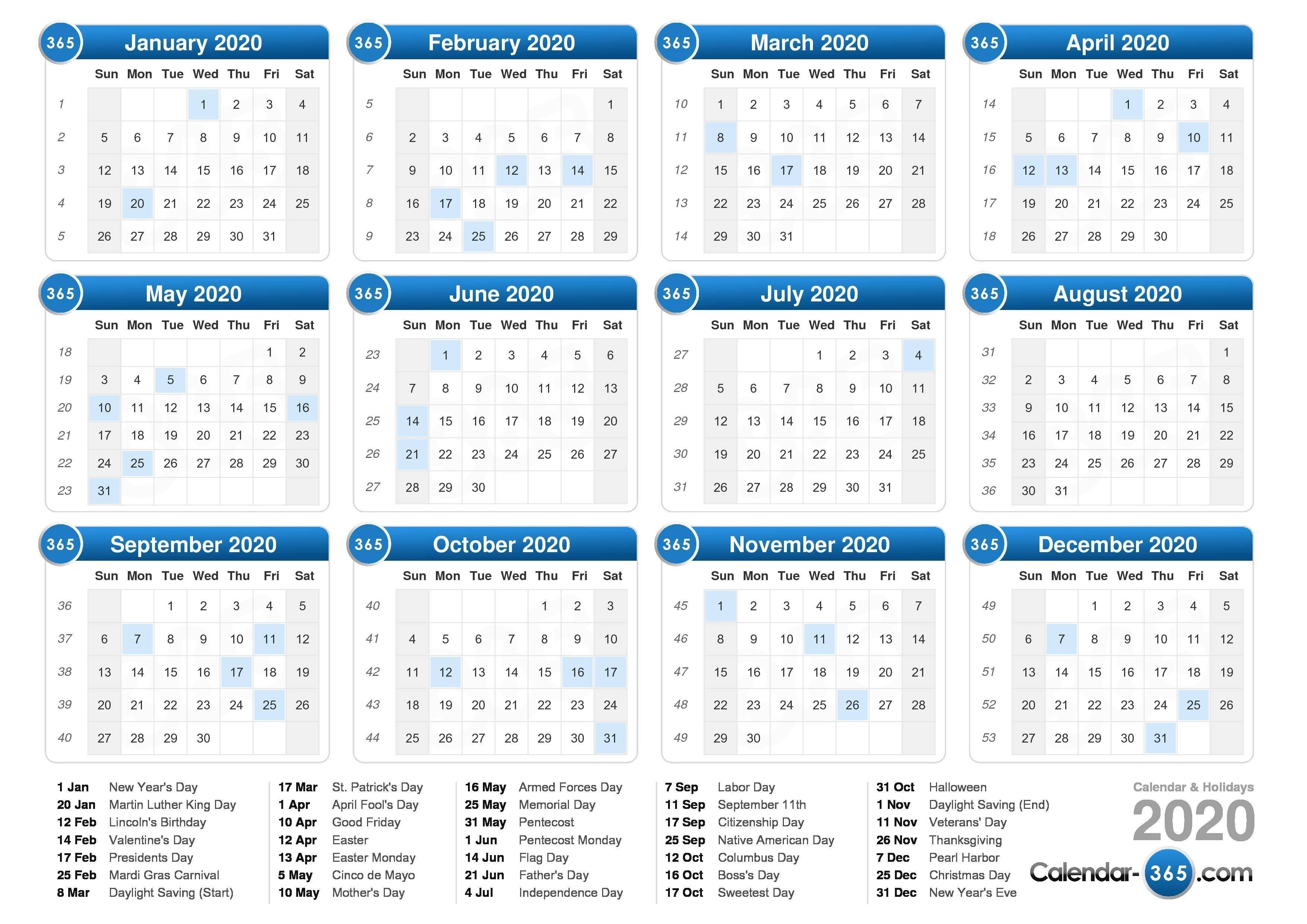 2020 Calendar-Calendar For 2020 Printable With Legal Holidays