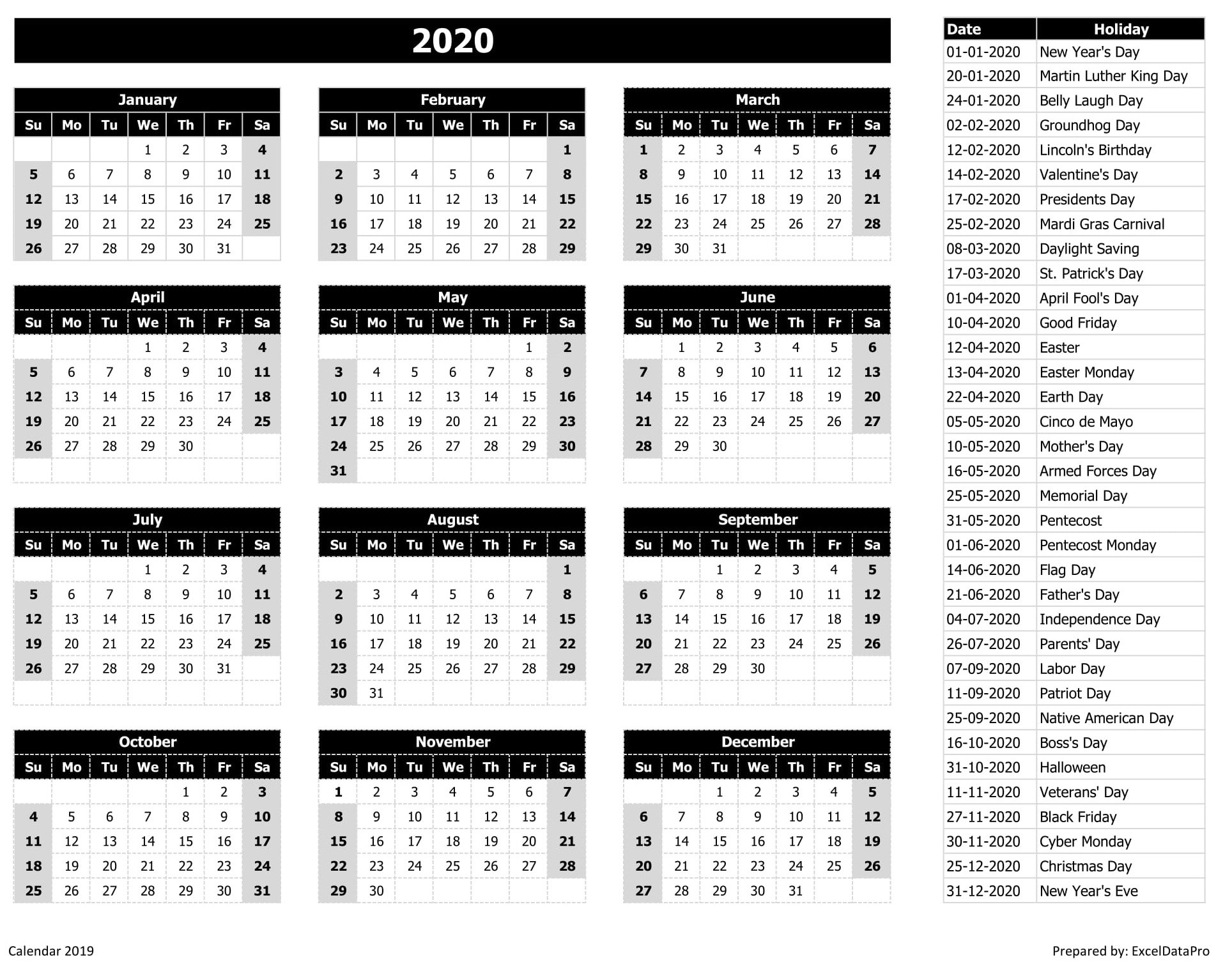 2020 Calendar Excel Templates, Printable Pdfs & Images-List Of Holidays 2020
