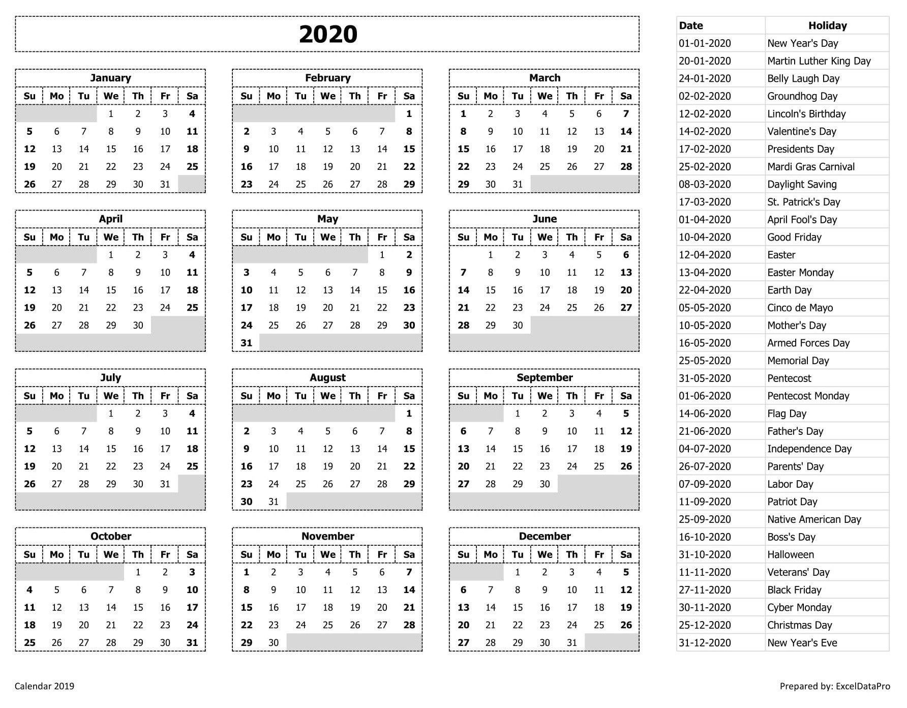2020 Calendar Excel Templates, Printable Pdfs & Images-List Of Holidays By Month 2020