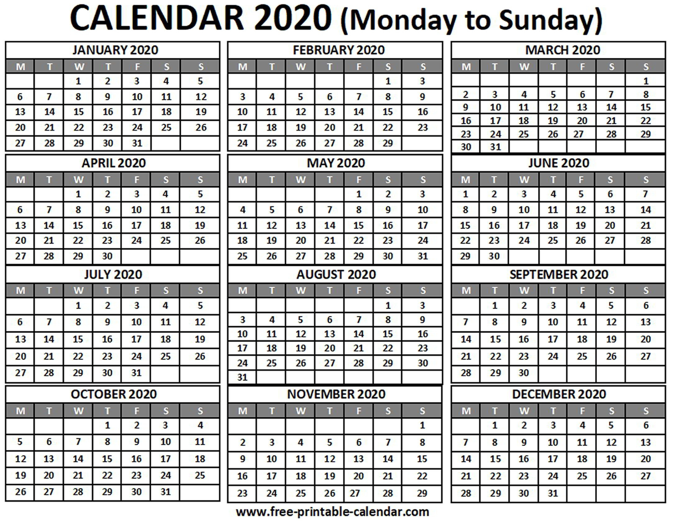 2020 Calendar - Free-Printable-Calendar-Month Template 2020 Printable Free Starting On Monday