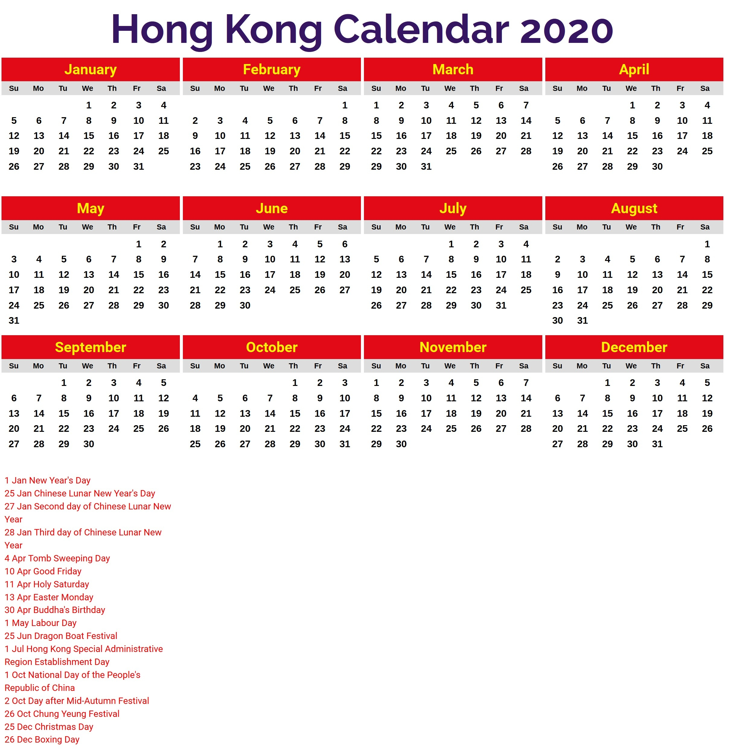 2020 Calendar Hong Kong – Printable Year Calendar-January 2020 Hong Kong Calendar