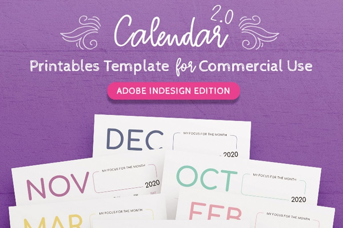 2020 Calendar Indesign Template For Commercial Use-Adobe Indesign Calendar Template 2020