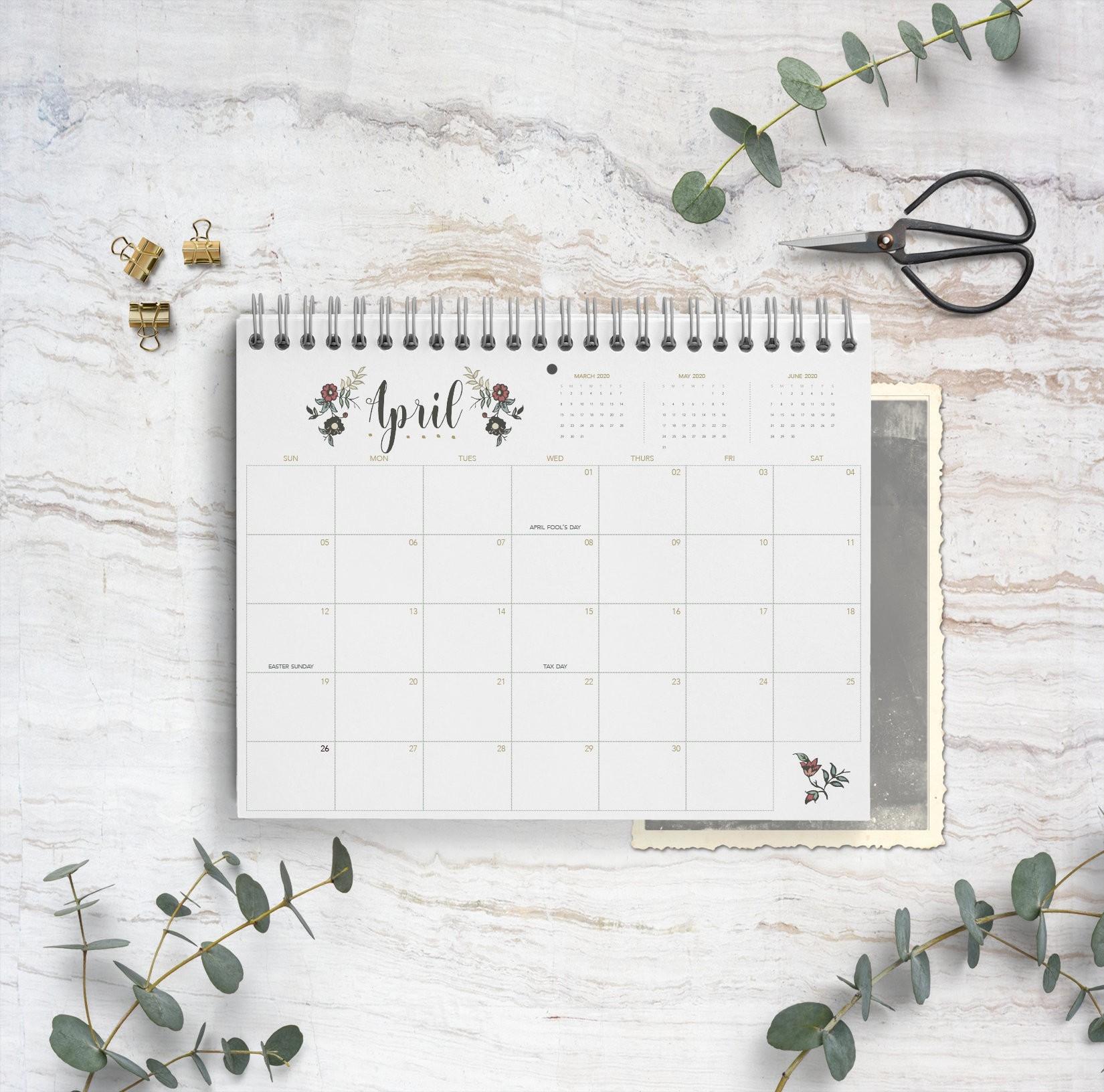 2020 Calendar Jane / Spiral Bound Calendar / Monthly Calendar / Floral  Calendar / Wall Calendar / Organize / Planner / Gift / Month-Spiral Bound Monthly Calendar